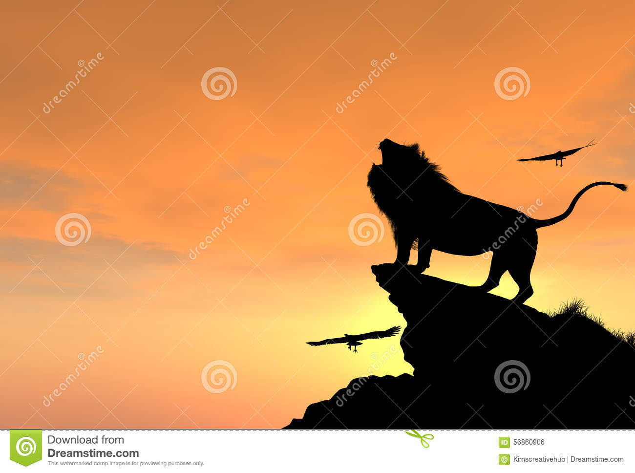 Proud Male Lion On A Rocky Cliff At Sunset Stock Photo ... Eagle Silhouette Vector