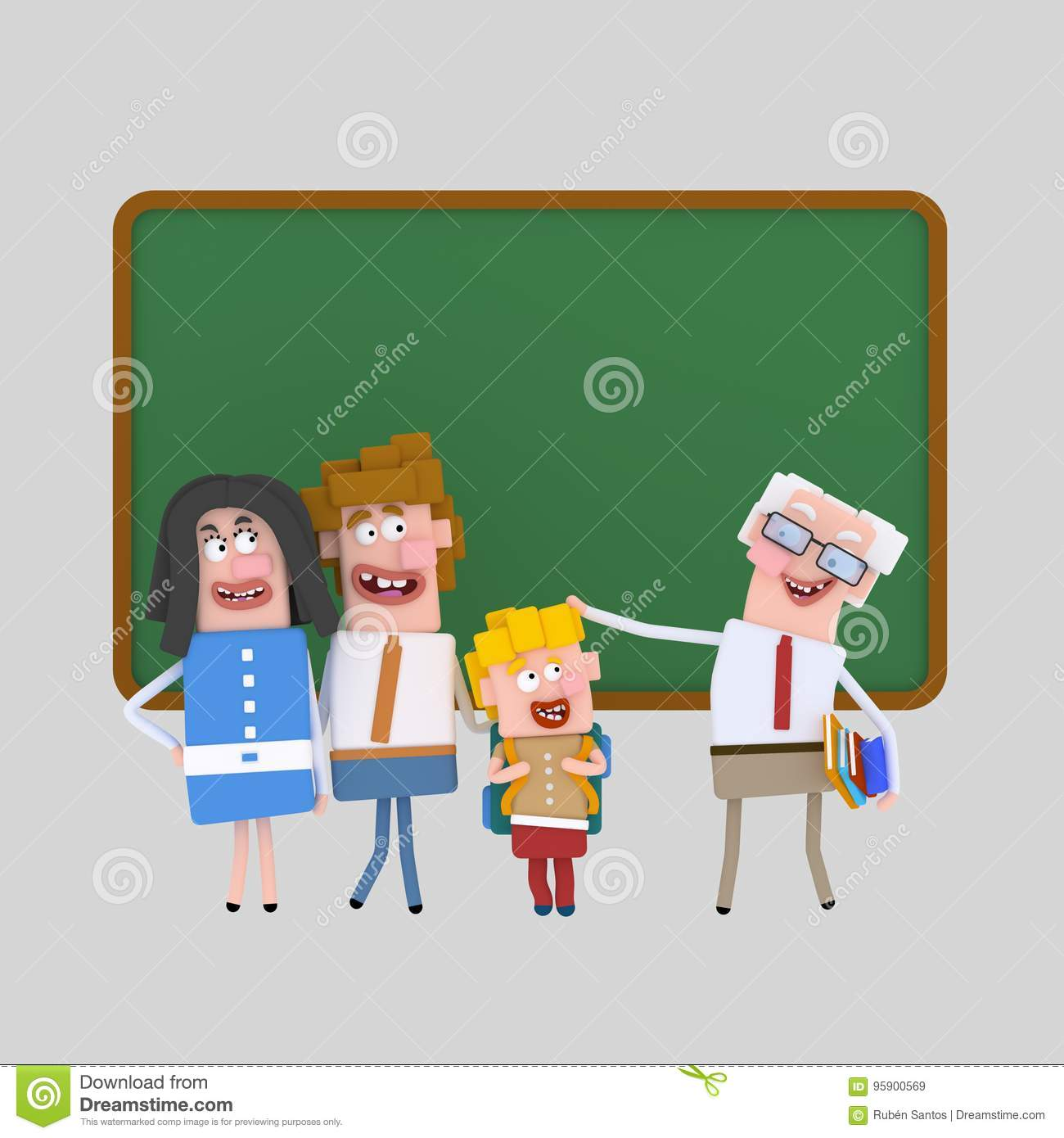 Proud Parents Talking Teacher 3D Stock Illustration ...