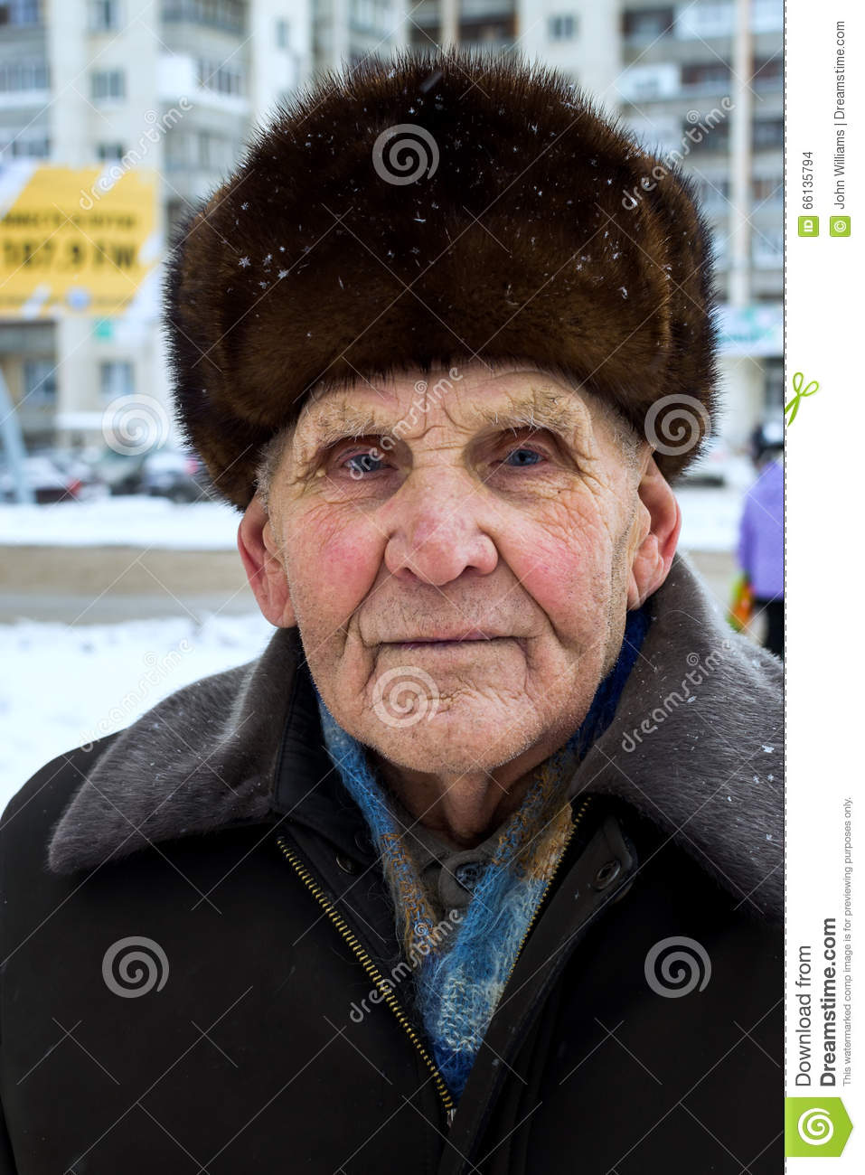 Russian Man With Hat Proud russian old man with fur hat in winter ...
