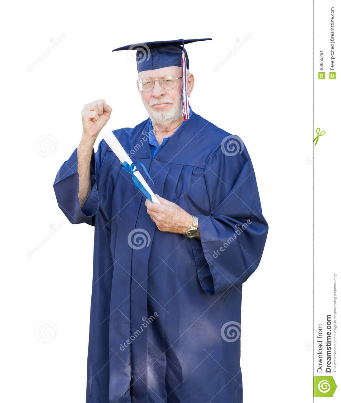 Proud Senior Adult Man Graduate In Cap And Gown Holding Diploma ...