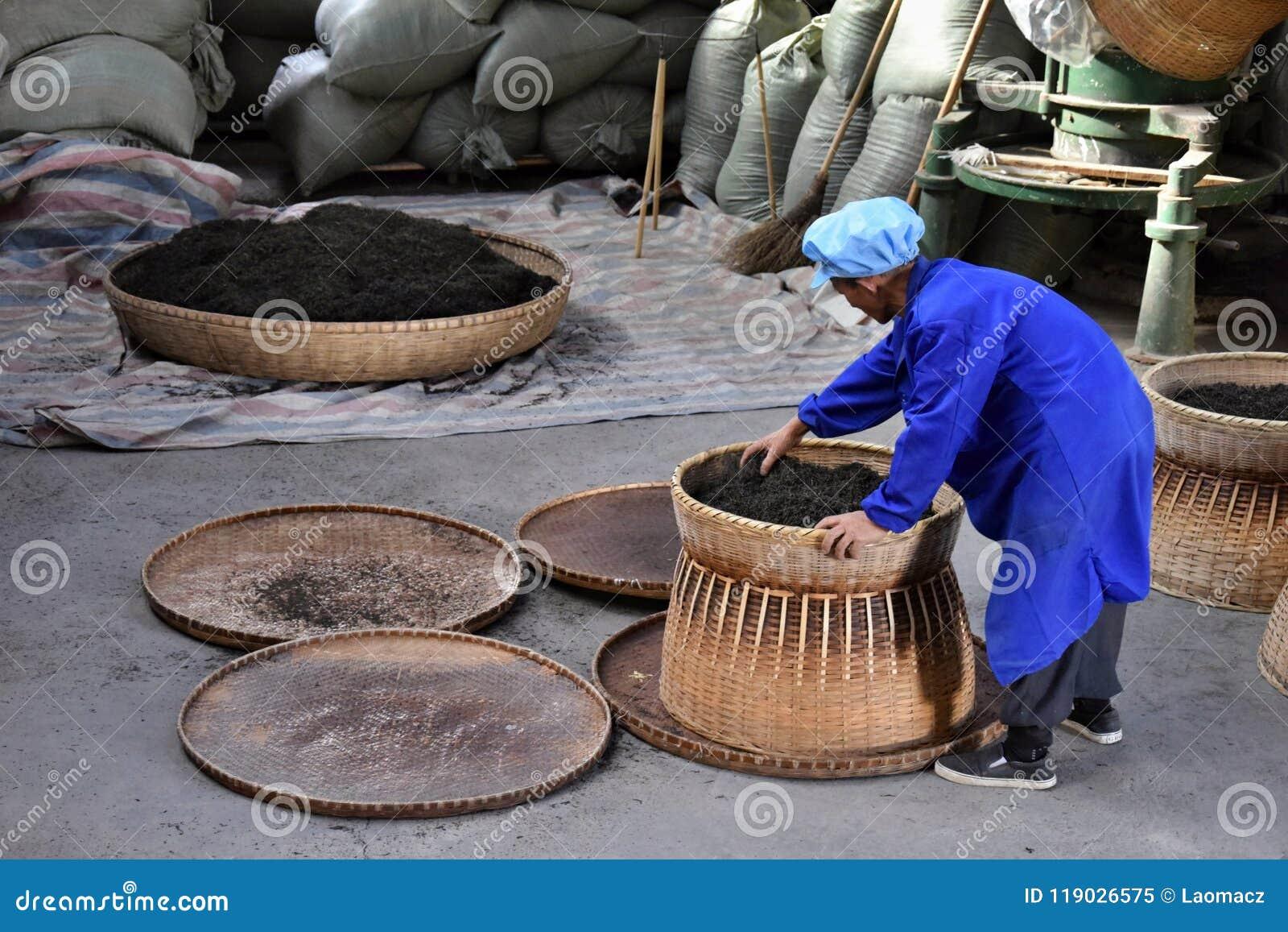 """PROVÍNCIA de ANHUI, †de CHINA """"CERCA DO outubro de 2017: Um homem que trabalha dentro de uma fábrica do chá"""