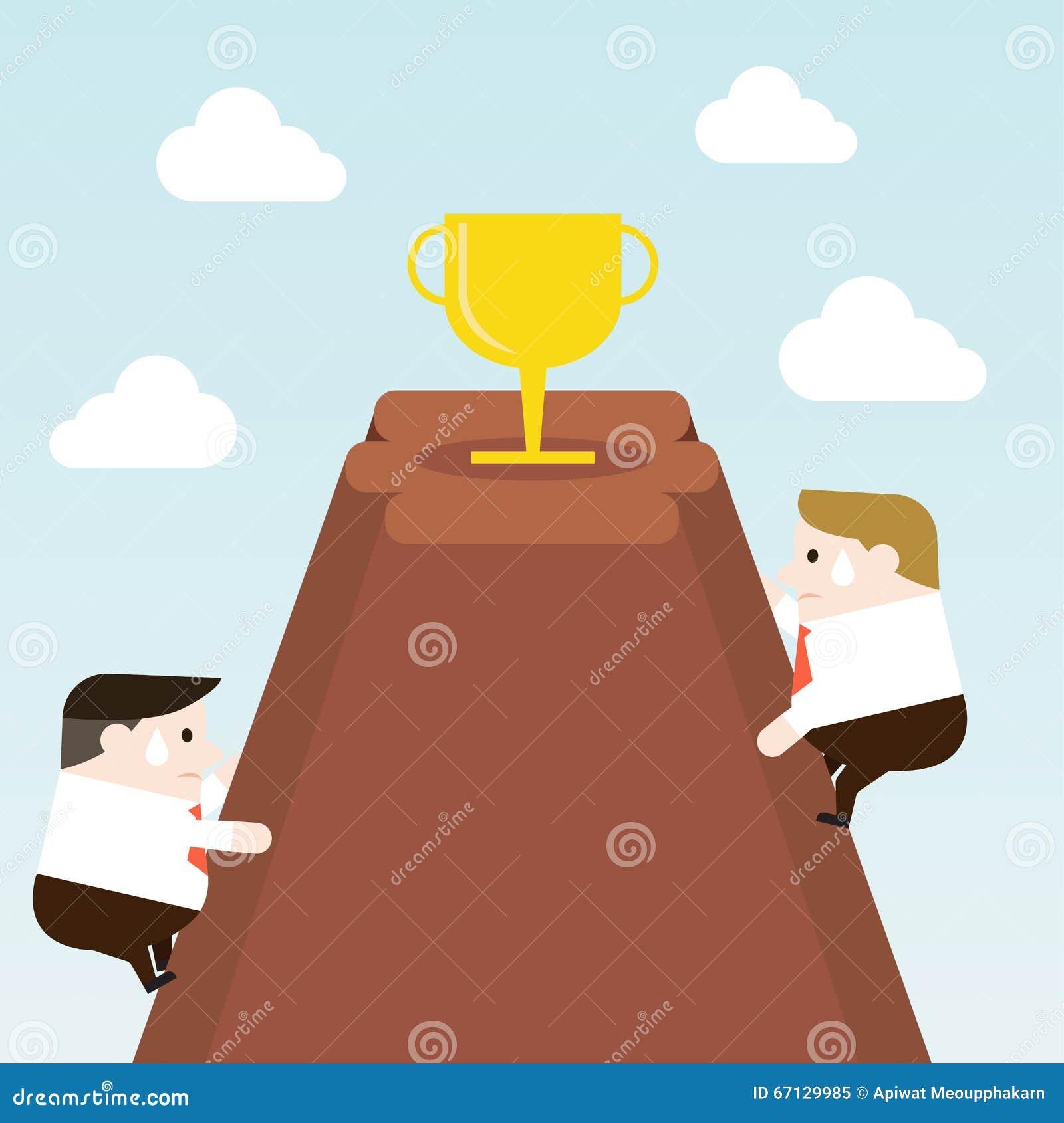 Prova dell uomo d affari da scalare al trofeo sulla cima della montagna