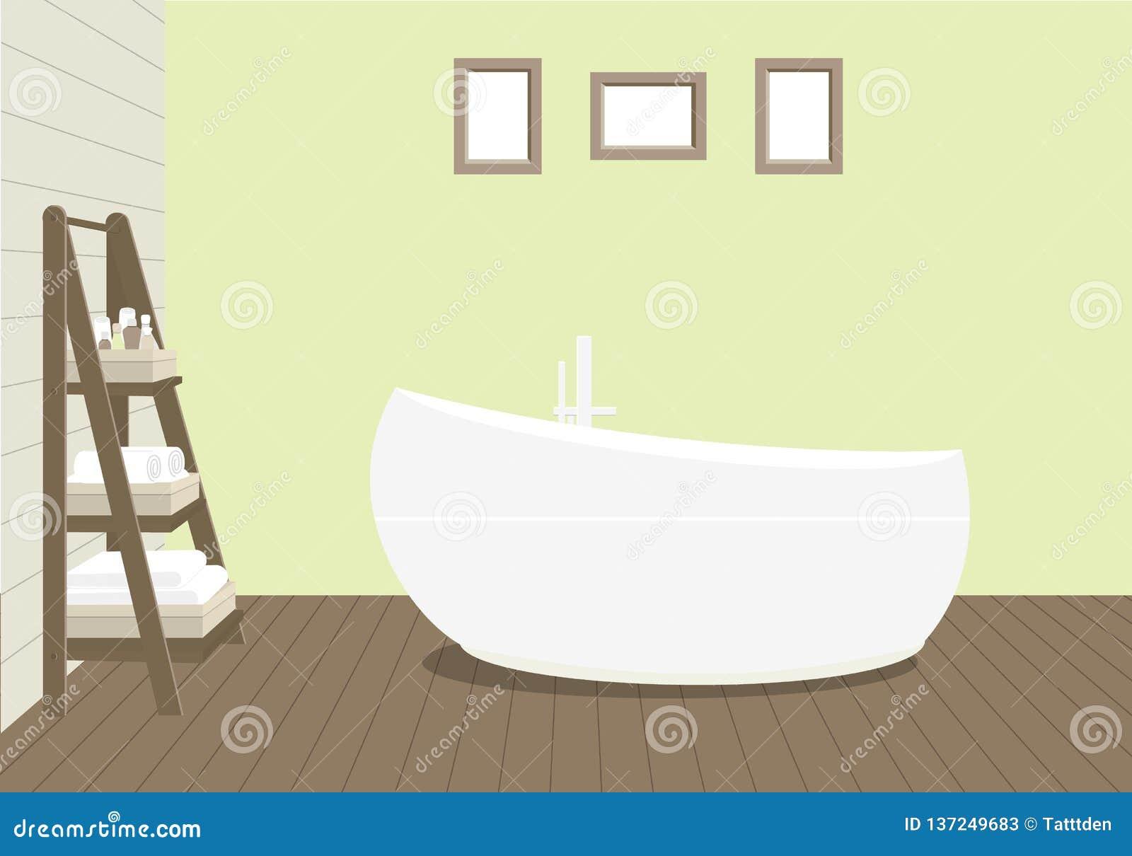 Provencal projektuje łazienkę z modnym skąpaniem, stojaka dla ręczników i kosmetyki, obrazy na ścianie
