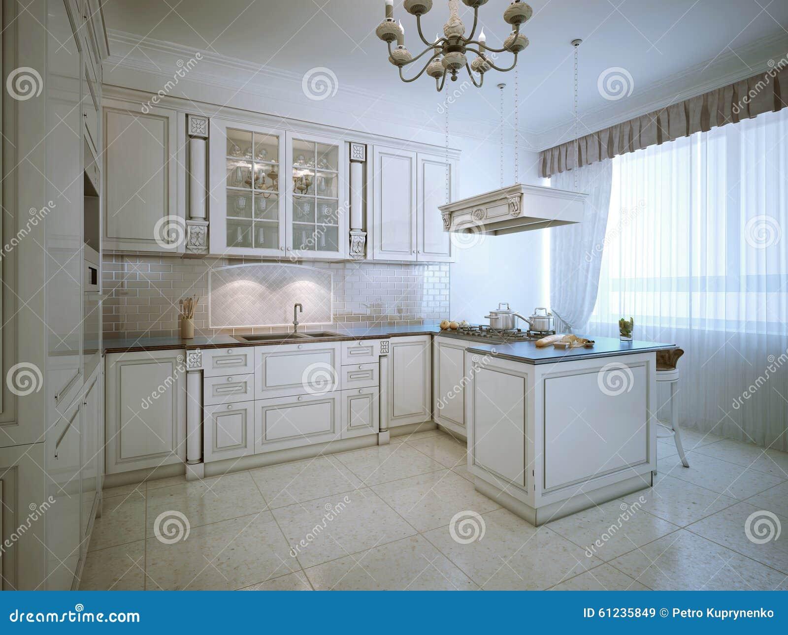 provence interior of luxury kitchen stock illustration. Black Bedroom Furniture Sets. Home Design Ideas