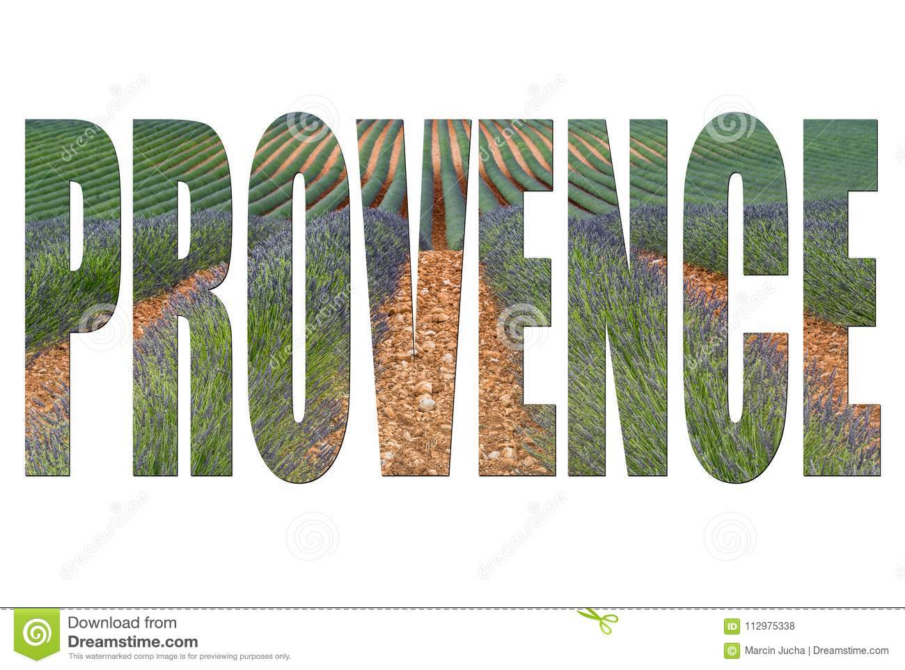 Provence letters isolated, post card template