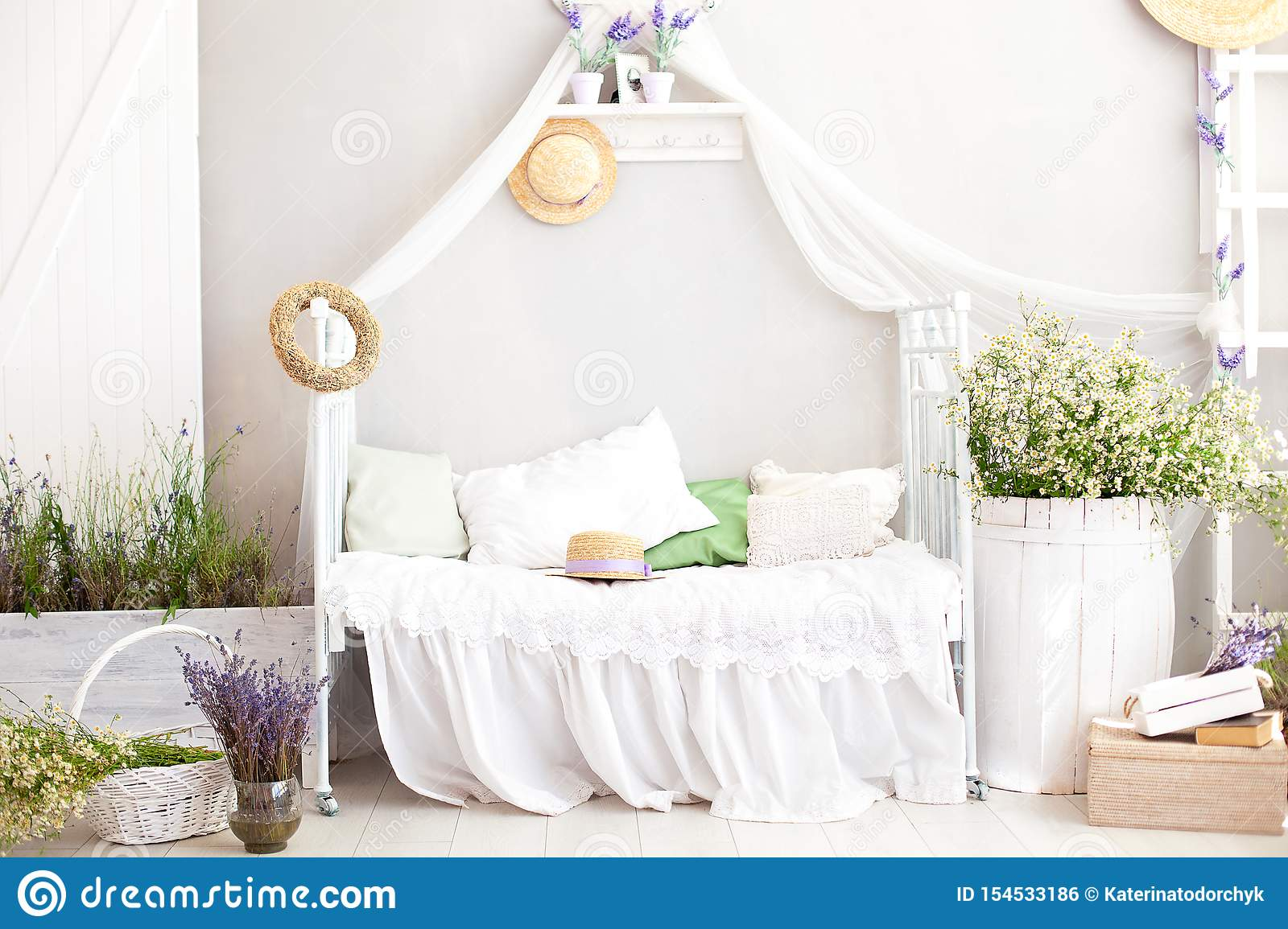 Provence Style Rustic Style Shabby Chic Interior Girly Provencal Style Bedroom Vintage Room Interior With White Wrought Iron Be Stock Photo Image Of Hotel Furniture 154533186