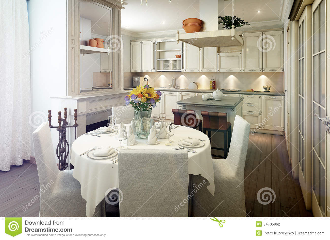 Provence Style Kitchen Interior, Dining Room
