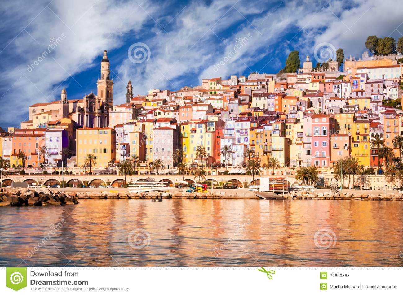 provence village menton daylight view stock photos image 24660383. Black Bedroom Furniture Sets. Home Design Ideas