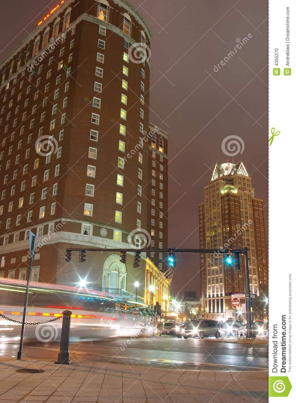 Providence, Rhode Island Downtown City At Night  Stock Photo