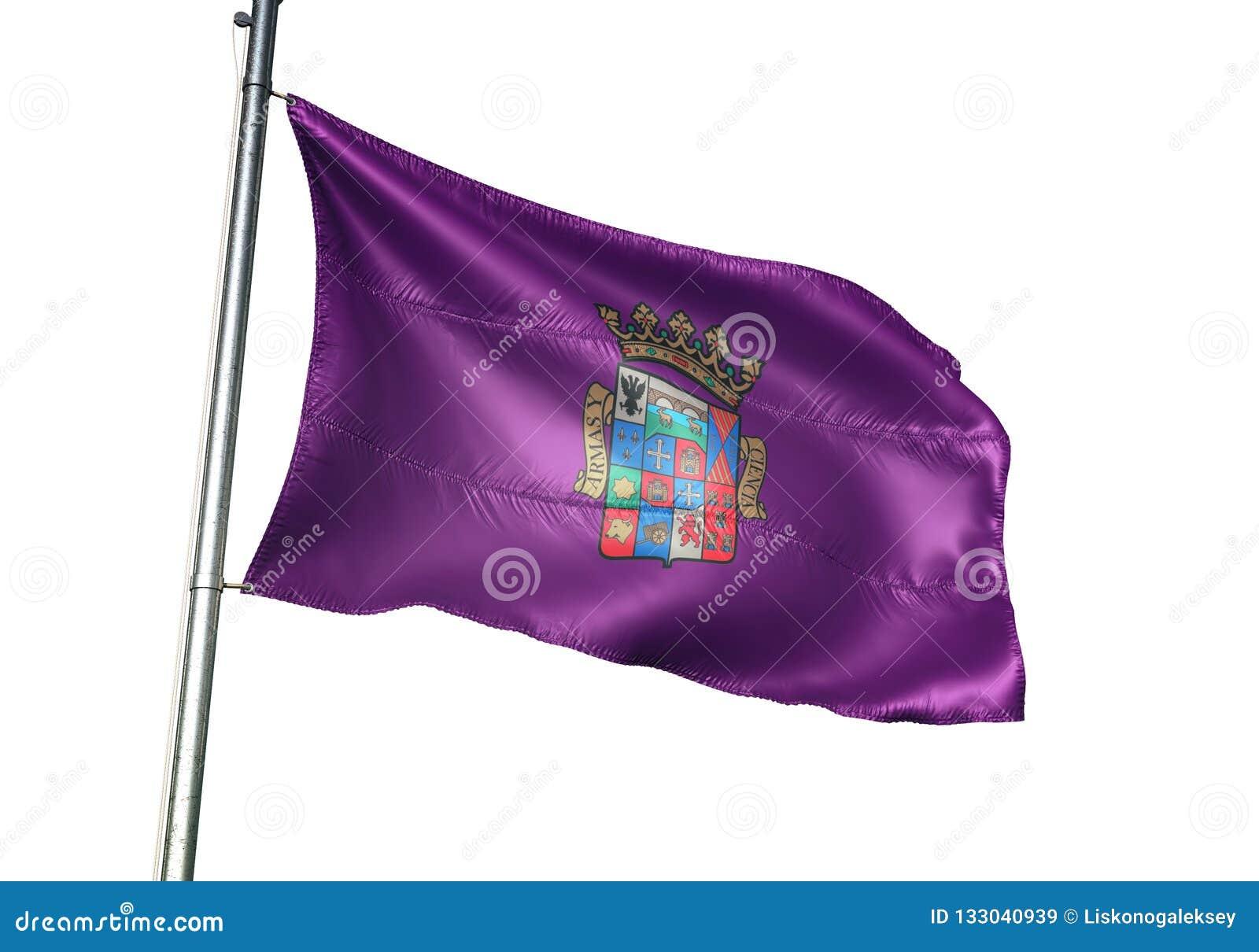 Province de Palencia de l ondulation de drapeau de l Espagne d isolement sur l illustration 3d réaliste de fond blanc