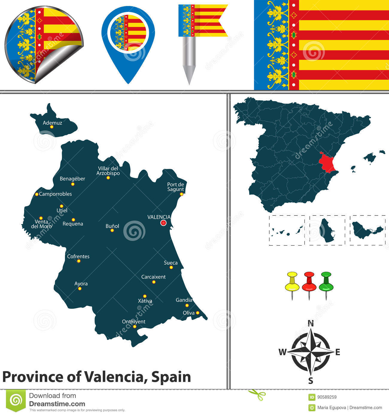 Map Of Spain By Province.Province Of Valencia Spain Stock Vector Illustration Of