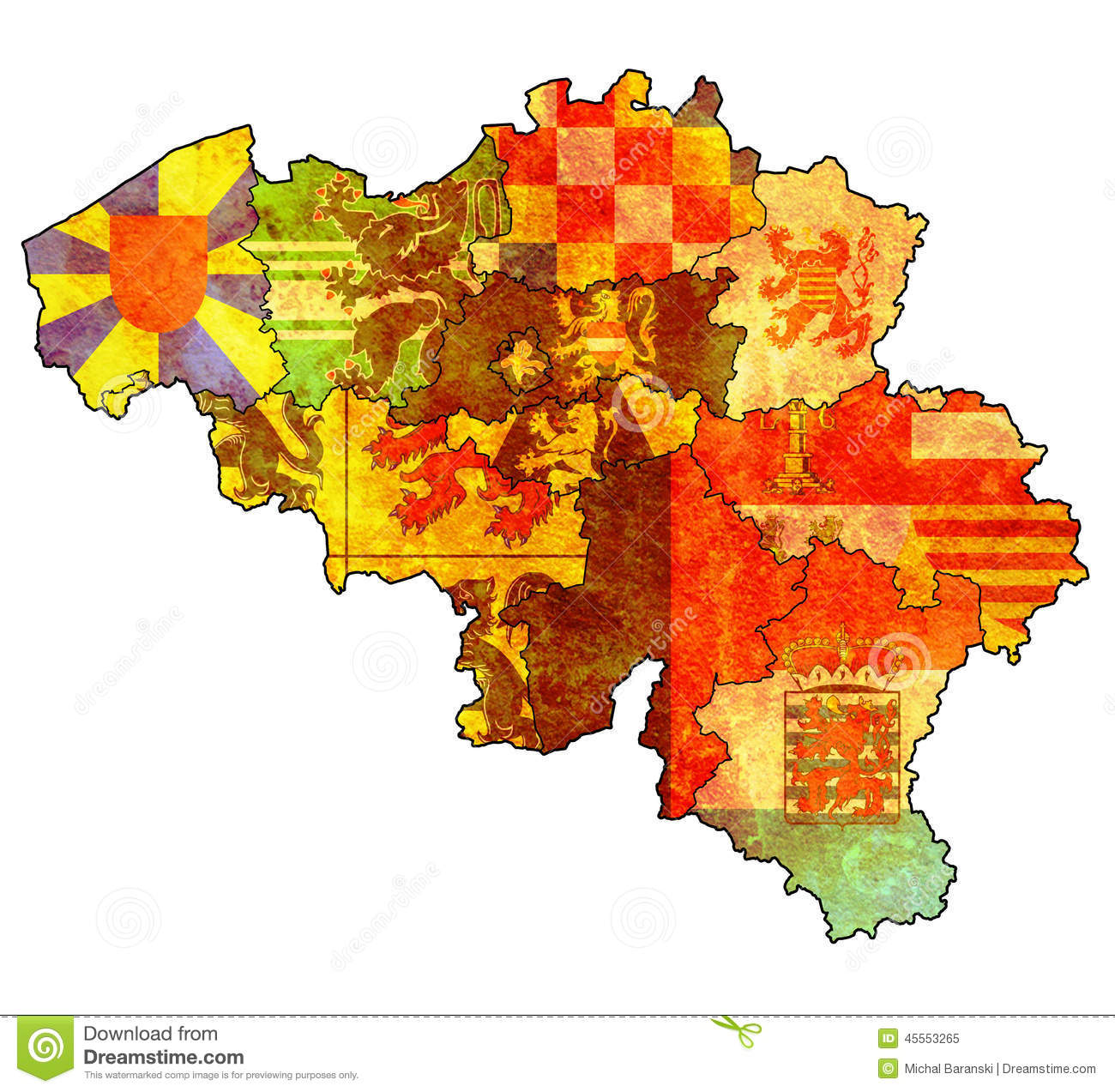 Map Of Belgium With Its Provinces Royalty Free Photography – Map of the Belgium