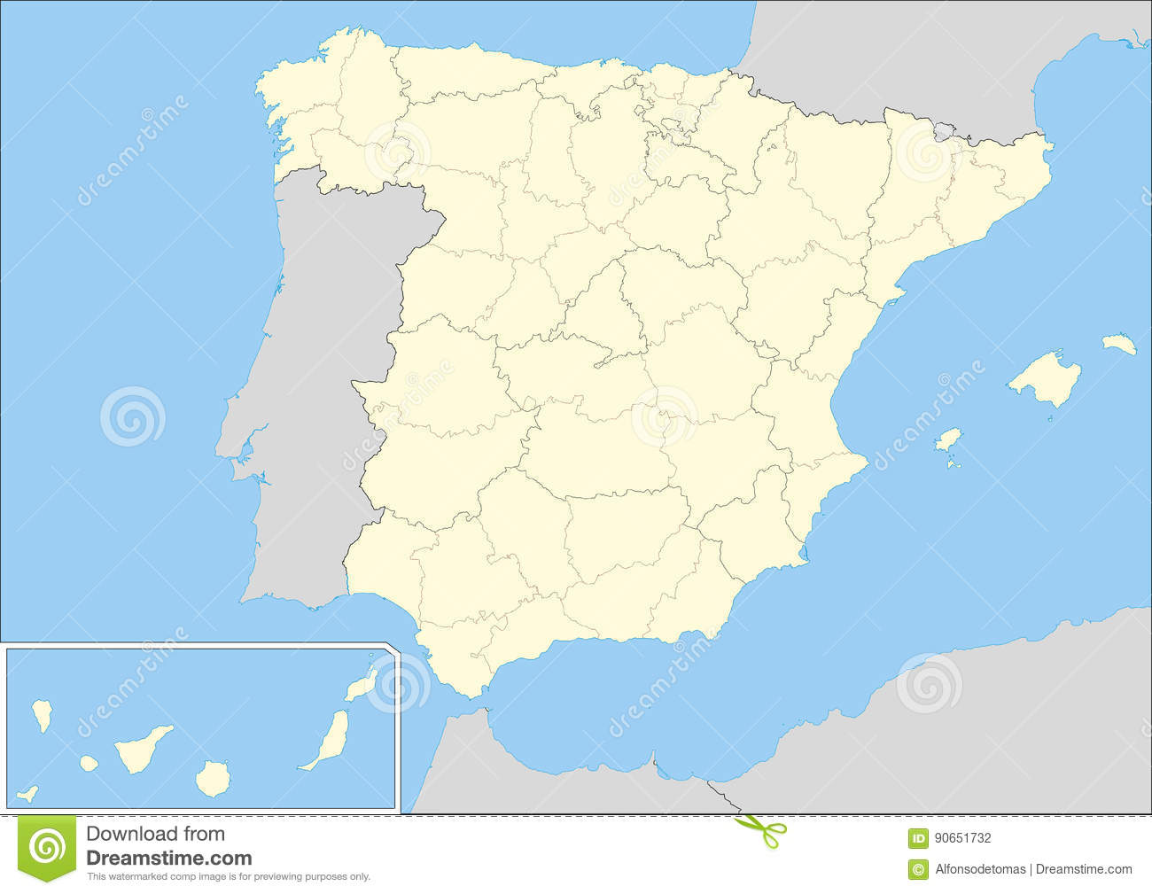 Spain Map Of Provinces.Provinces Of Spain Stock Illustration Illustration Of Baleares