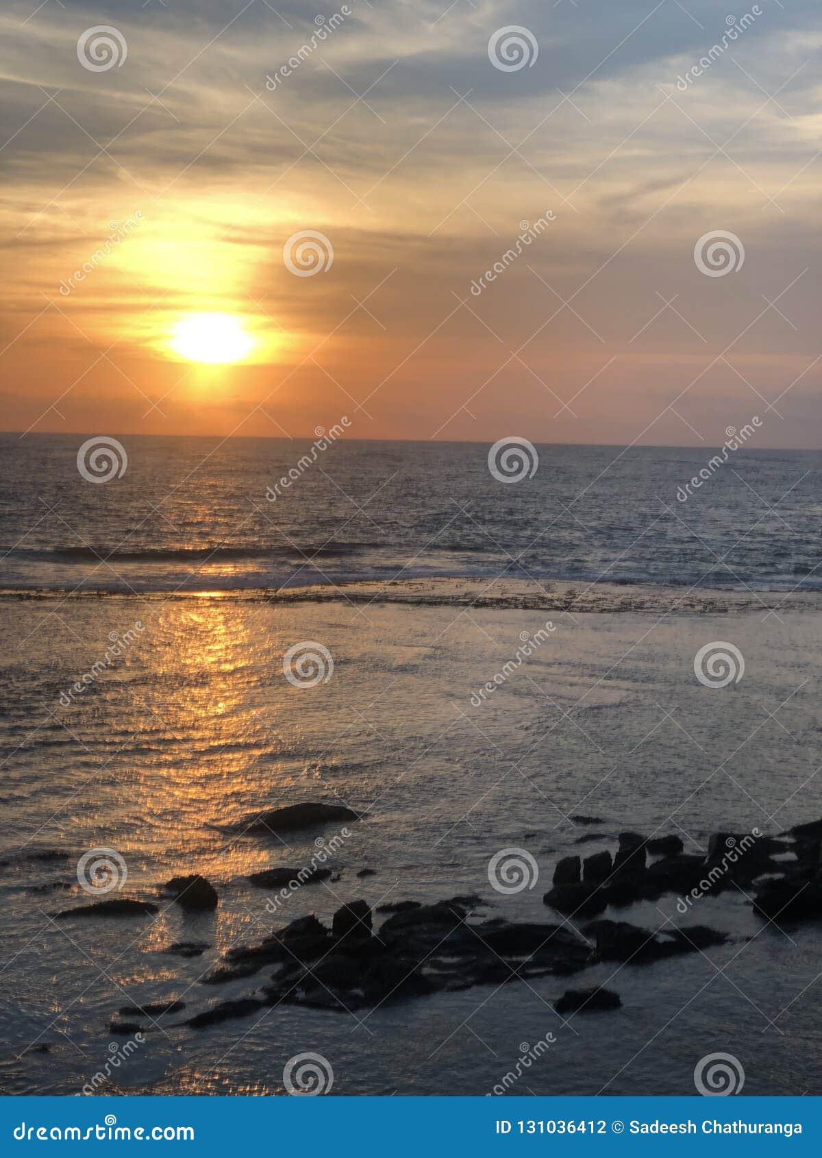Provincia meridional Galle de la puesta del sol del fuerte de Galle