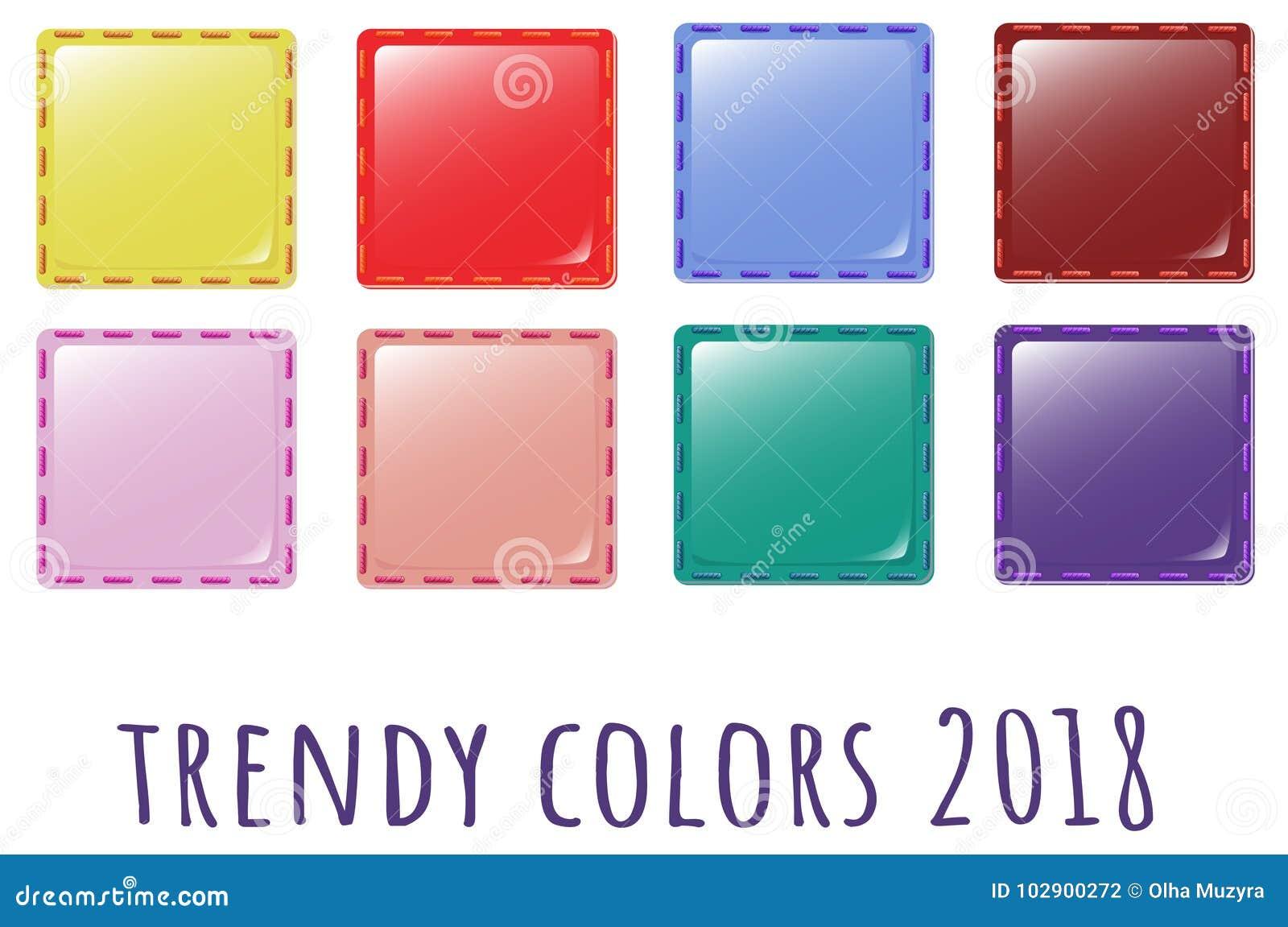 Provkartor av trenden färgar för textilen 2018 - symbolstyg