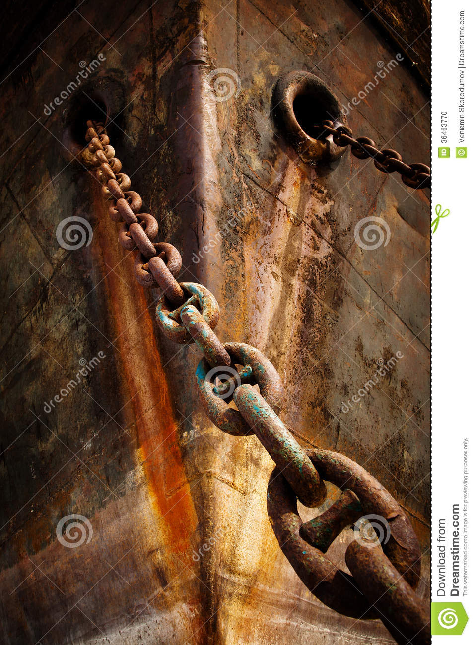 Prow Old Ship With Anchor Chain Stock Photo Image 36463770