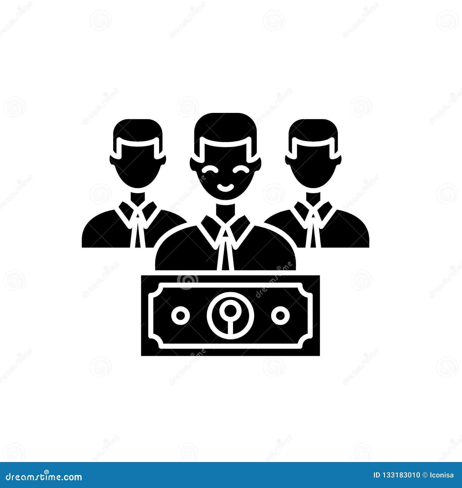 Prowadzi czarną ikonę, wektoru znak na odosobnionym tle Płacy pojęcia symbol, ilustracja