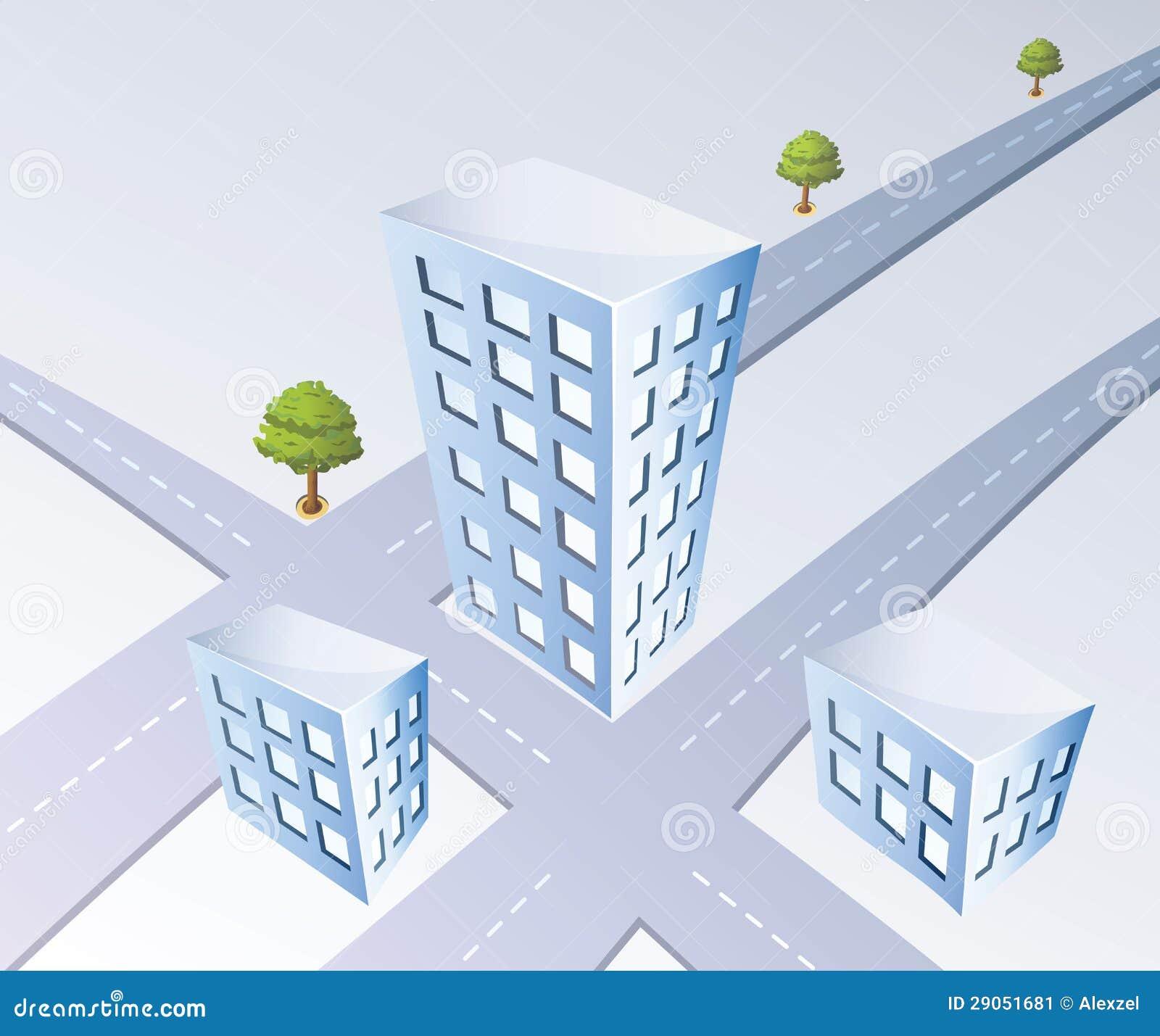 Proyección isométrica del camino y de los árboles de ciudad.