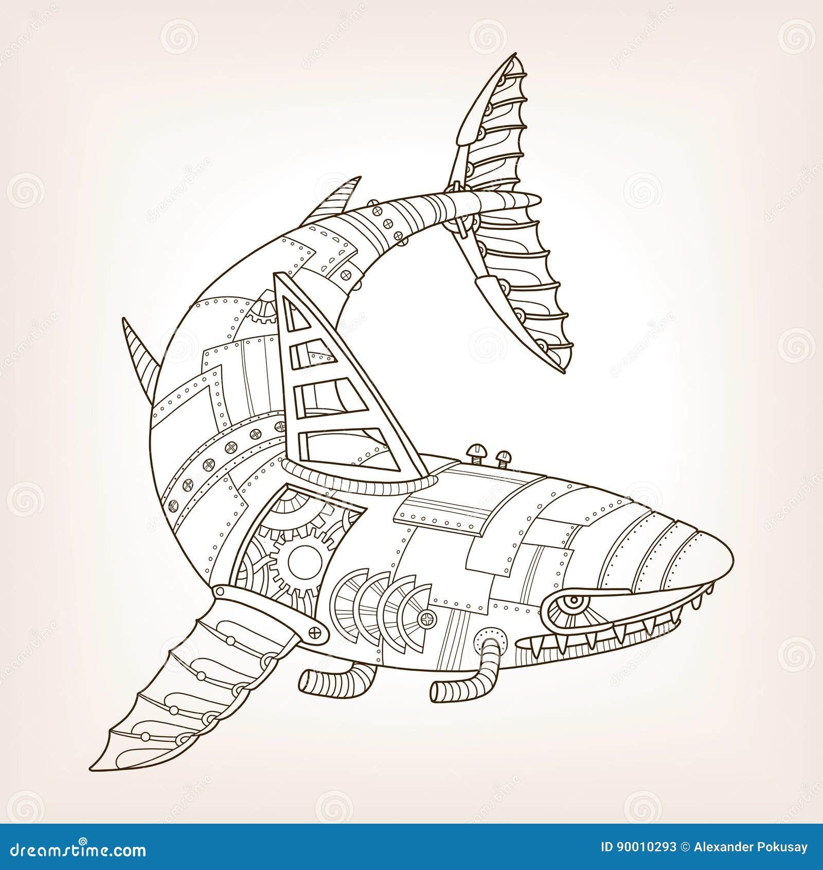 Proyecto Antiguo Del Vector Mecánico Del Tiburón Ilustración del ...