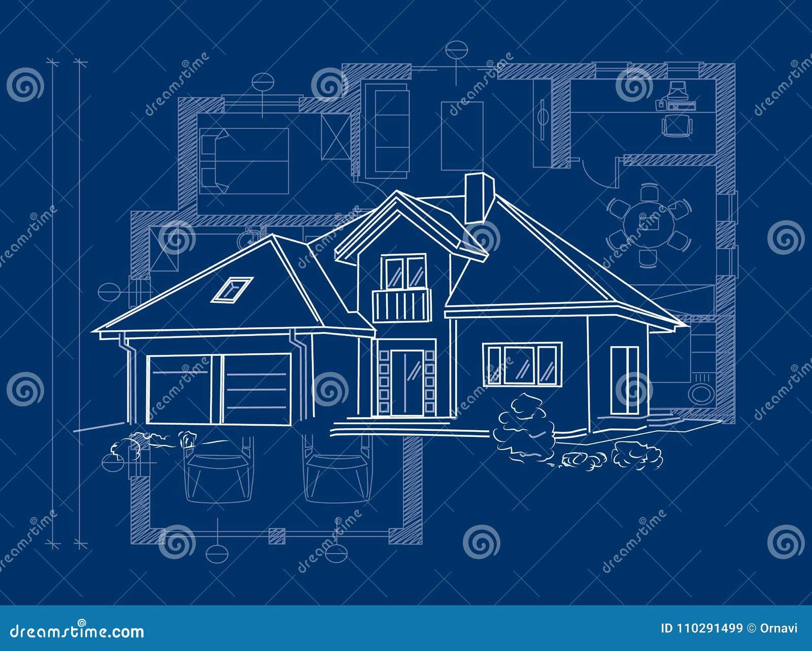 Proyecto arquitectónico linear de la casa separada - vector el ejemplo