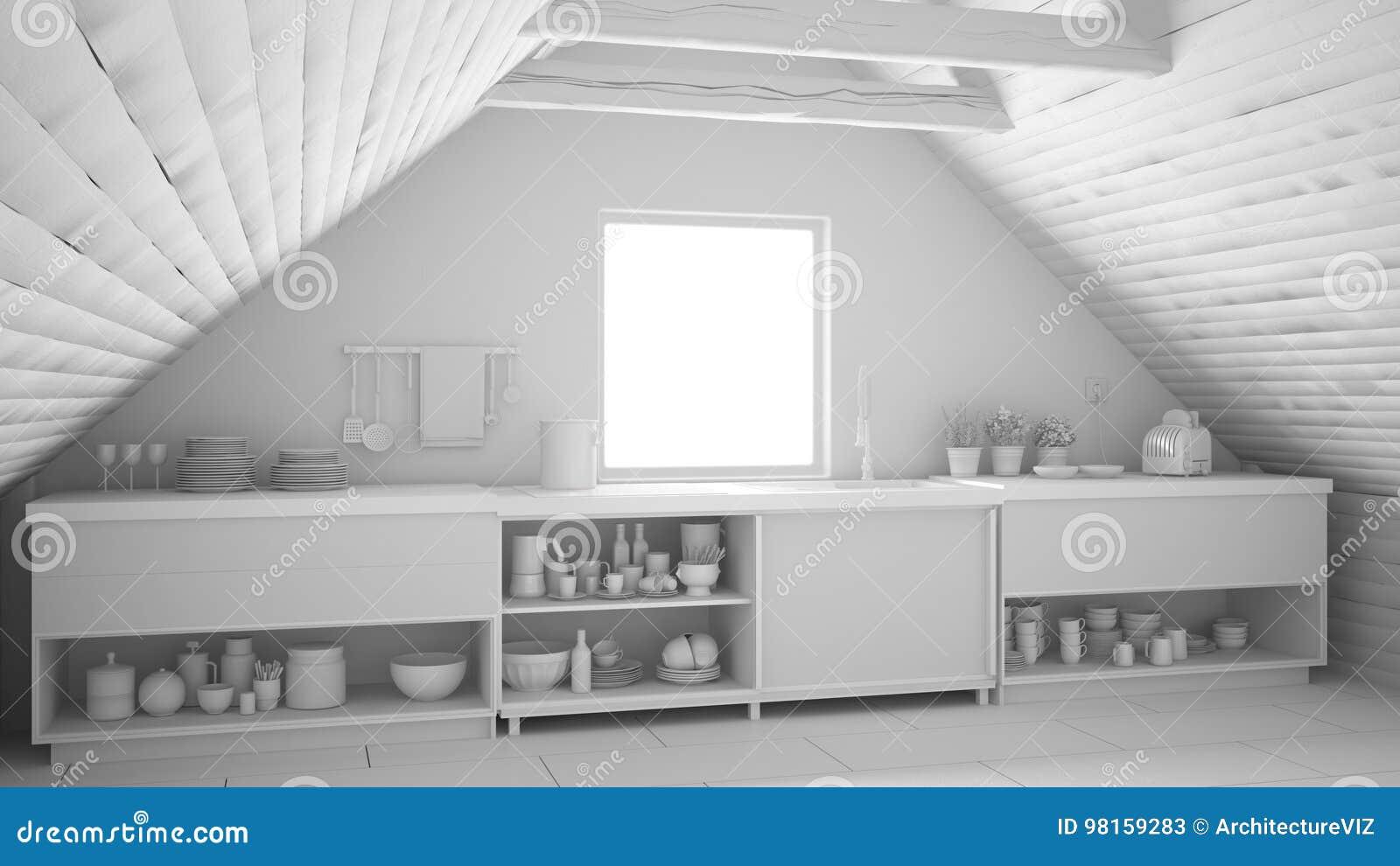 Proyecto Blanco Total De La Cocina Industrial Escandinava ...