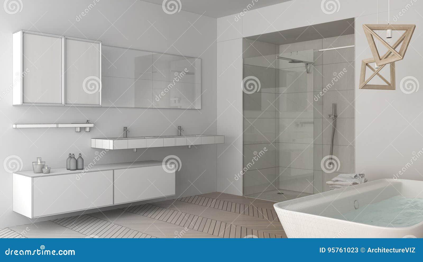 Proyecto Baño | Proyecto Inacabado Del Cuarto De Bano Brillante Minimalista Con