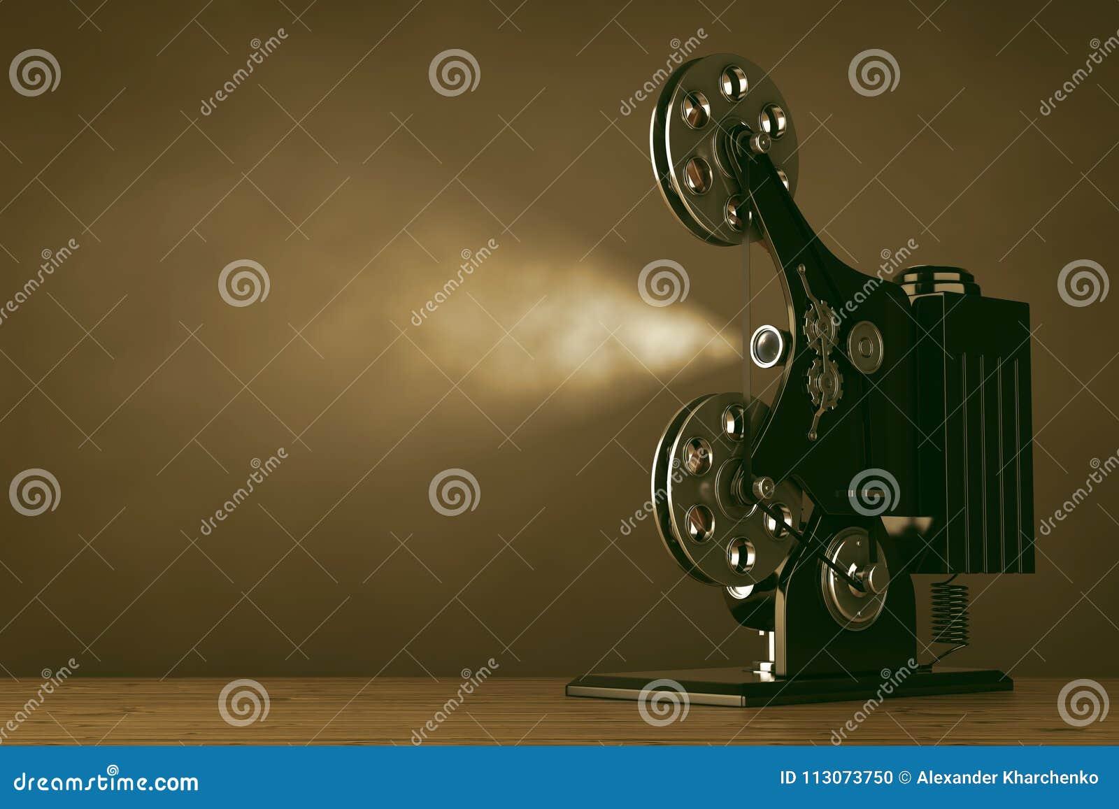 Proyector retro del cine de la película de cine representación 3d