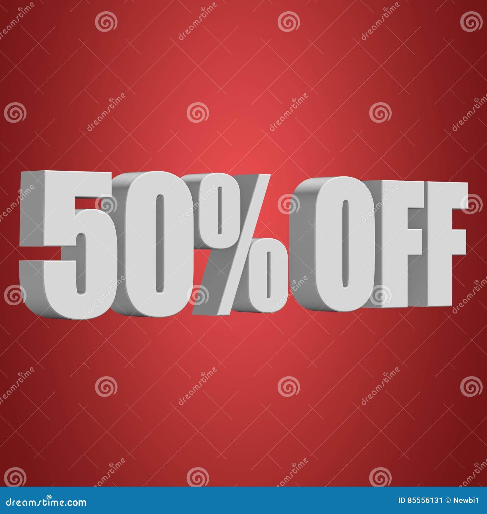 50 Prozent heruntergesetzt Buchstaben 3d auf rotem Hintergrund