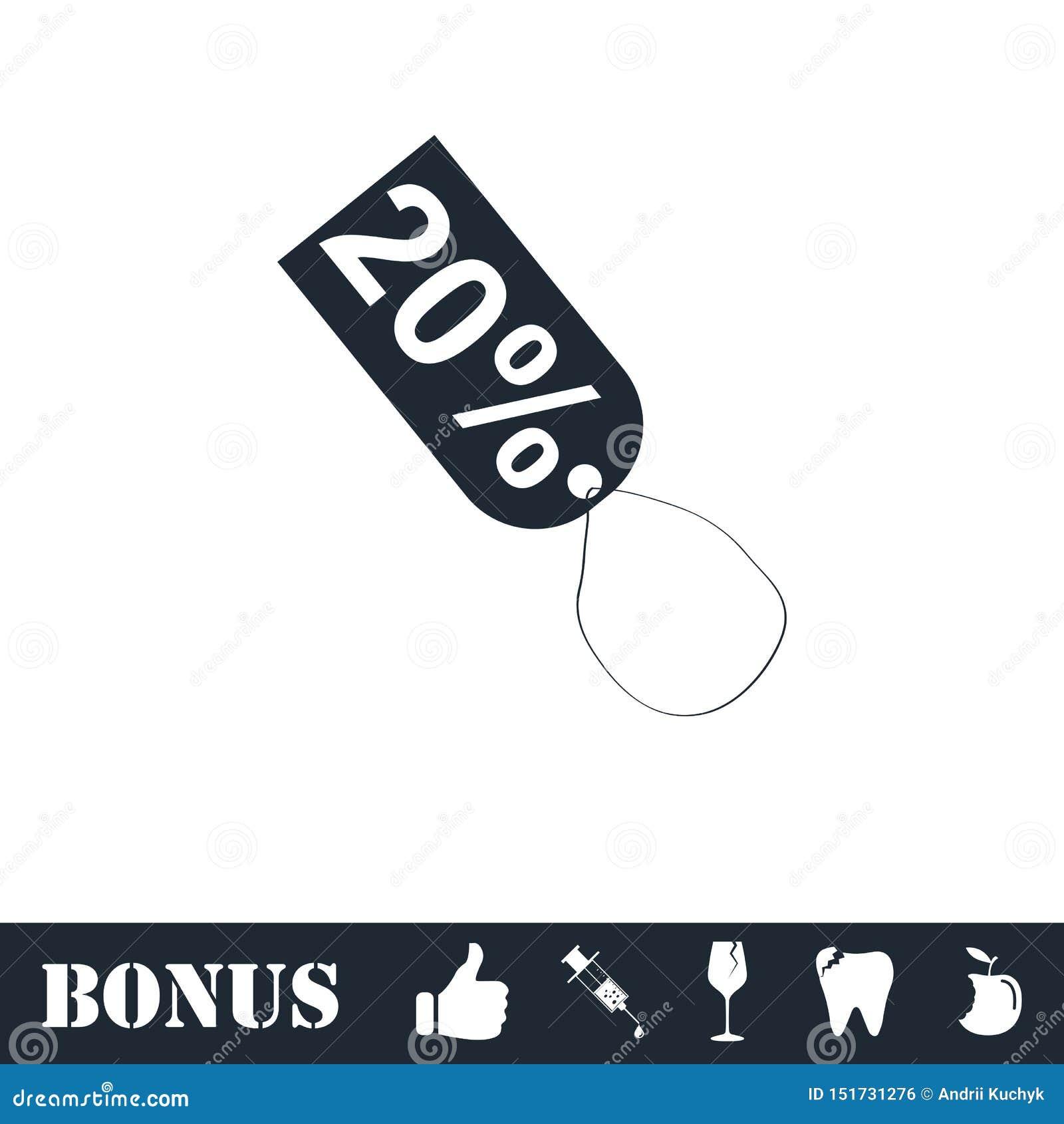 20-Prozent-Rabattikone flach