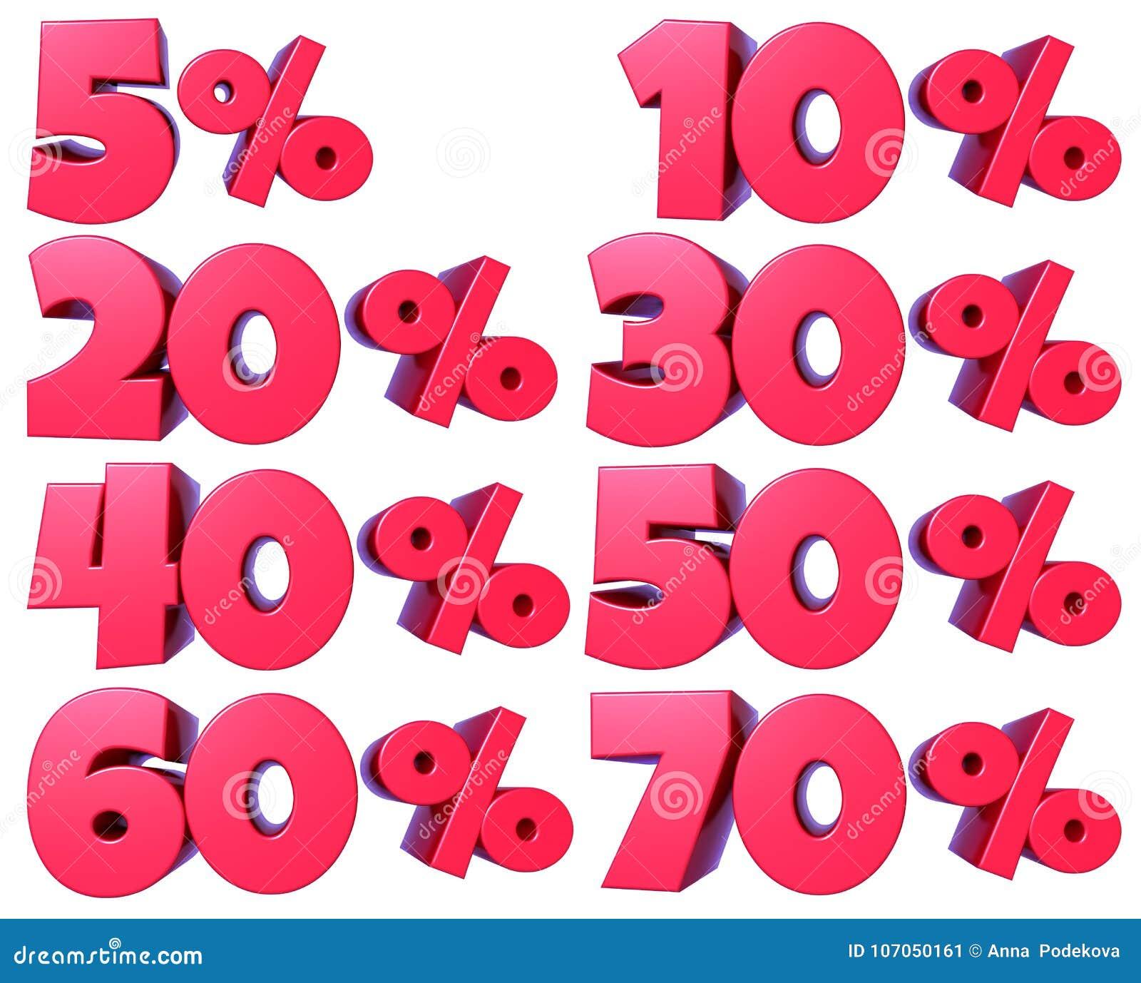 Prozentsatz nummeriert im Rot für Rabattverkäufe, für Fahnen und Schaukasten, für Netz und Druck, wenn transparente png-Datei bef