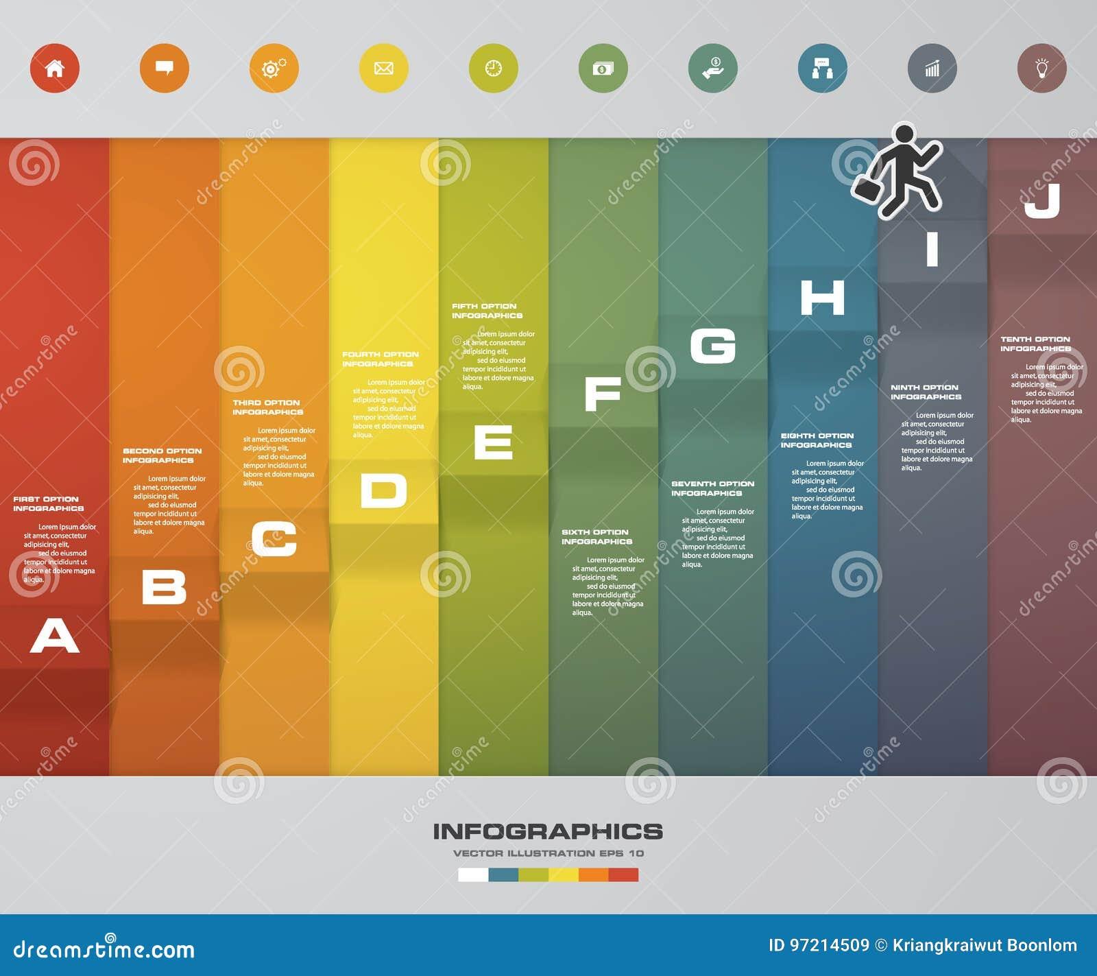 Prozess mit 10 Schritten Simple&Editable-Zusammenfassungsgestaltungselement Vektor