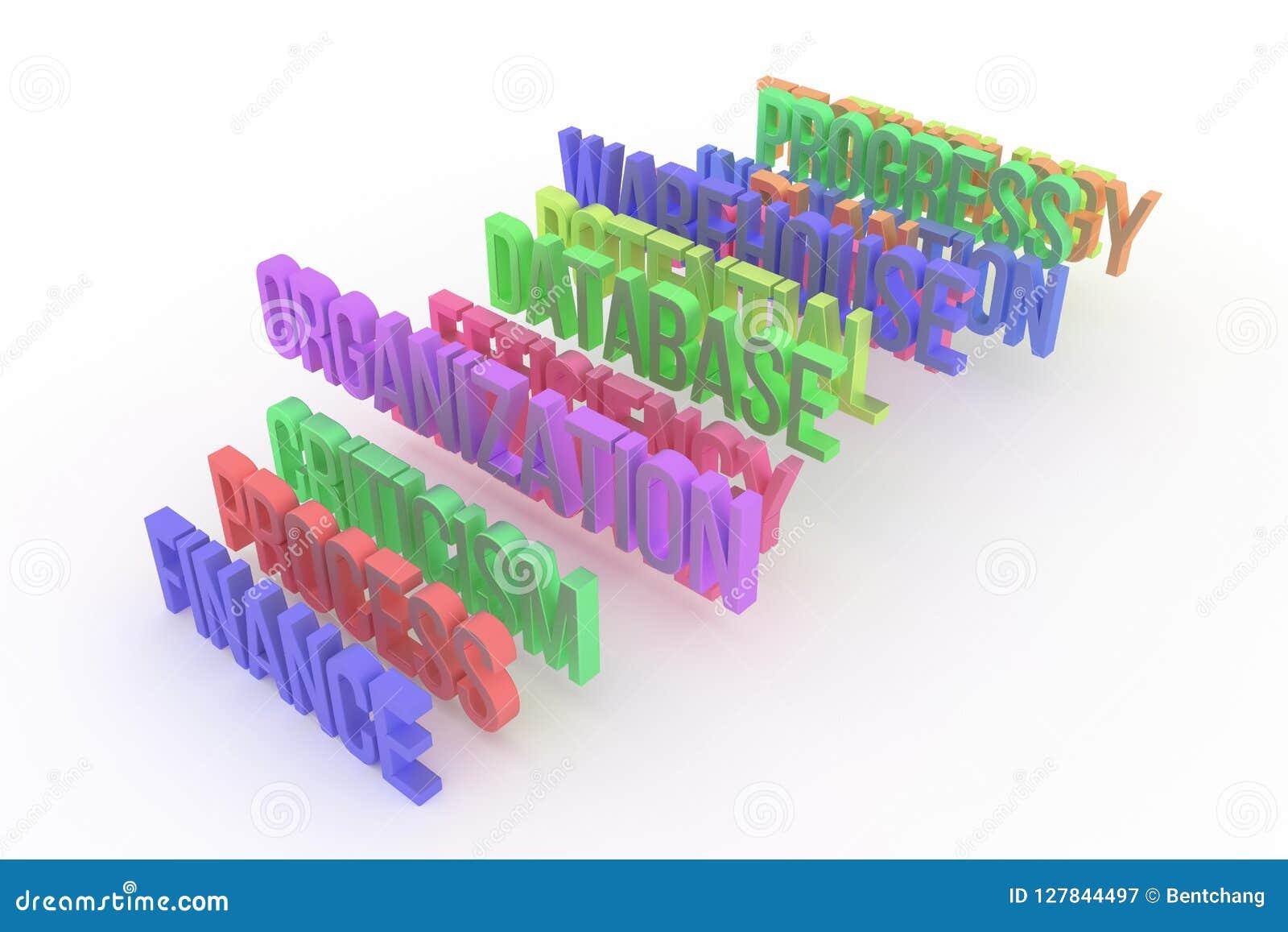 Prozess, Organisation u. Finanzierung, bunte begrifflichwörter 3D des Geschäfts Hintergrund, Tapete, Zusammenfassung u. Typografi