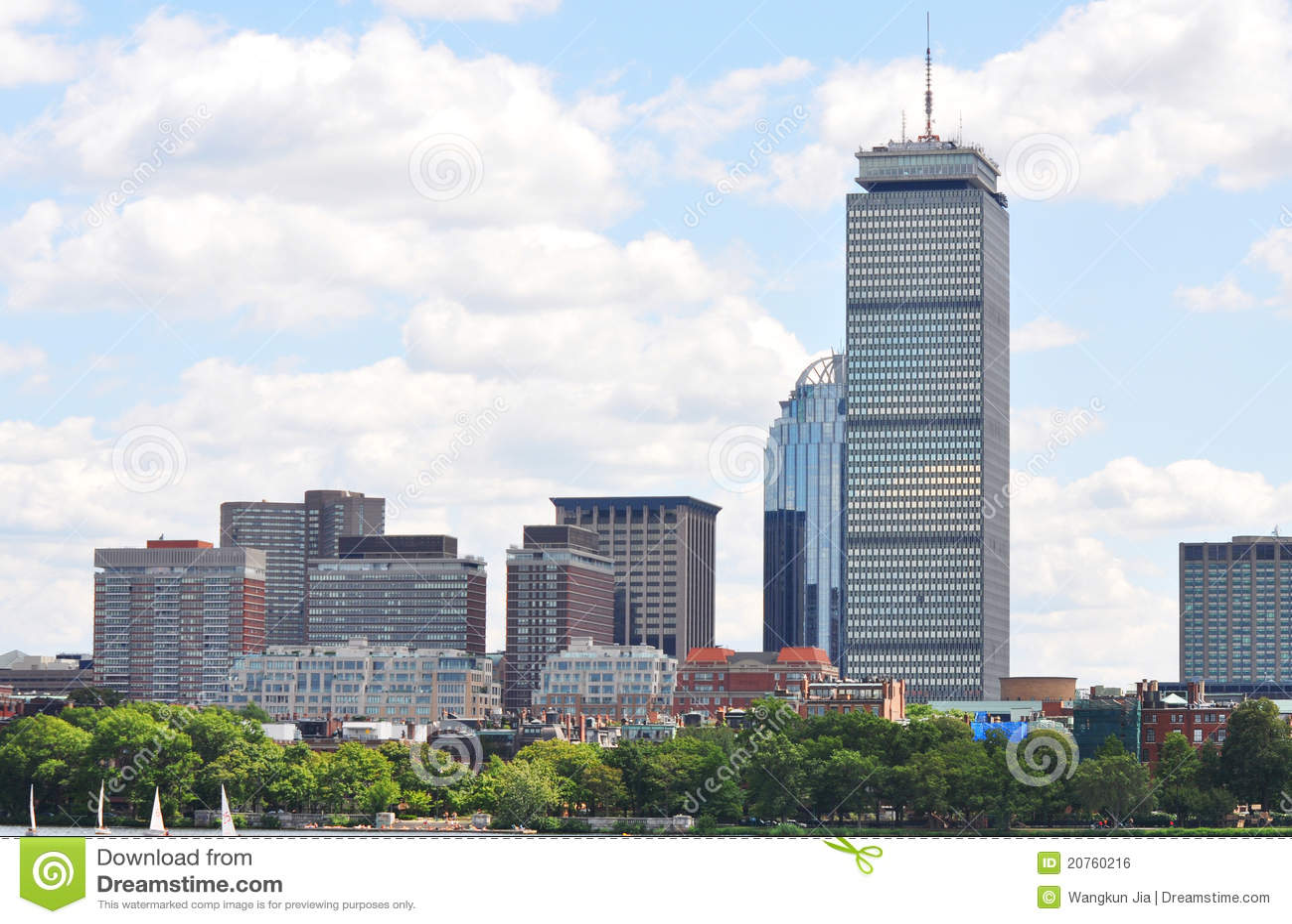 prudential center in back bay  boston royalty free stock boston skyline vector free Boston City Skyline