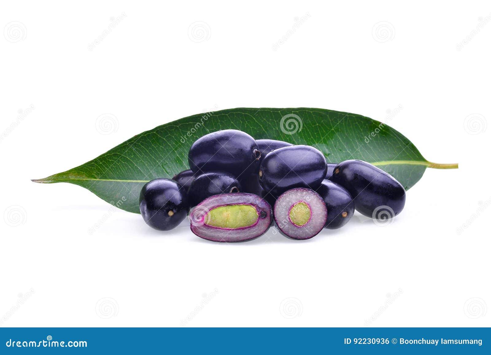 Prugna di Jambolan o prugna di Java isolata su bianco