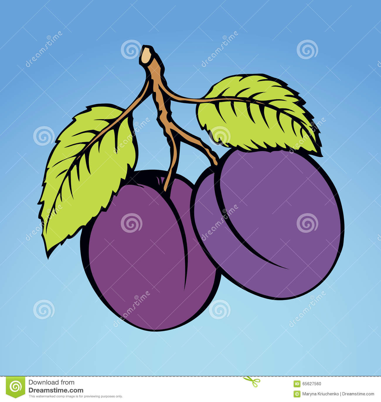 Prune, illustration de vecteur