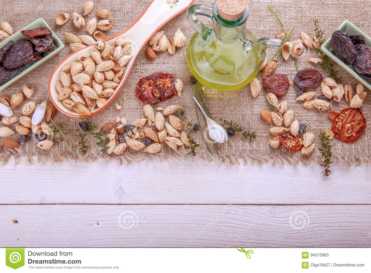 Prunes, dried apricots, raisins, almonds, dried tomatoes - handmade Bio products. Dried fruits, vegetables, nuts and