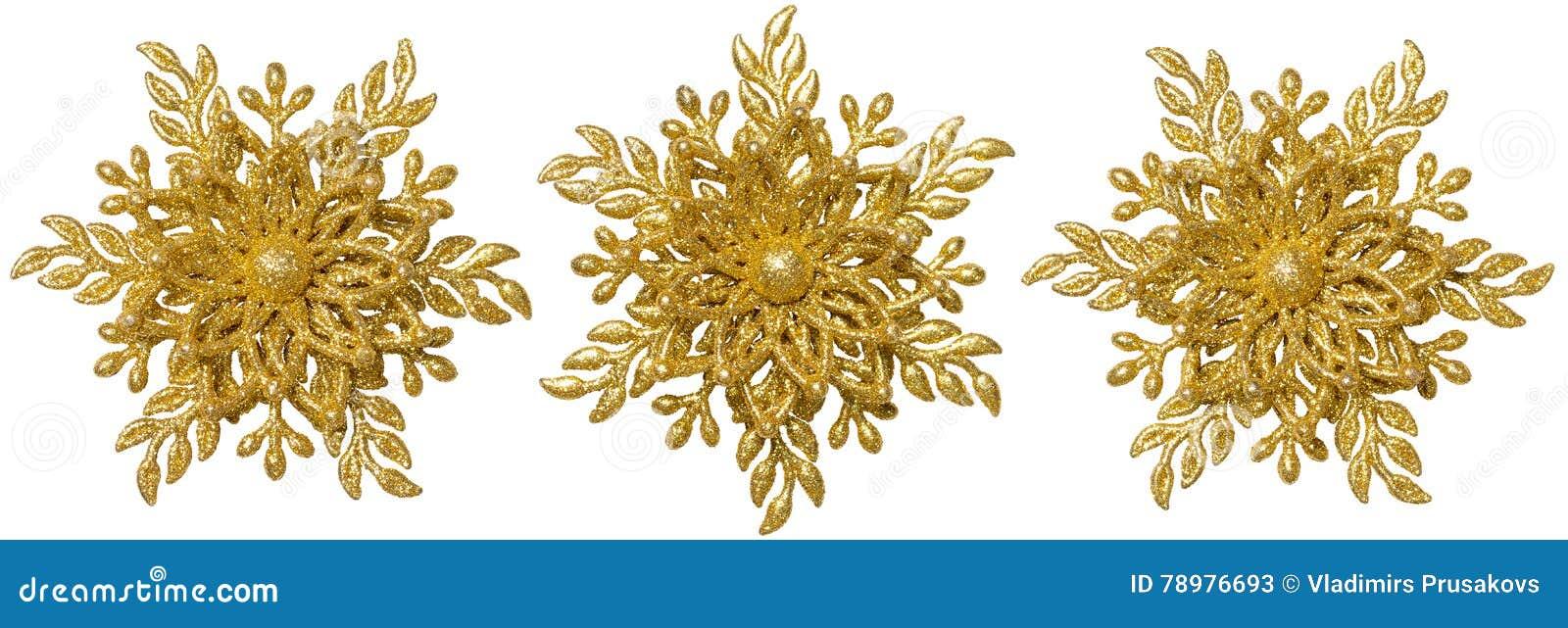 Prydnad för snöflingajulgarnering, guld- snöflinga för Xmas