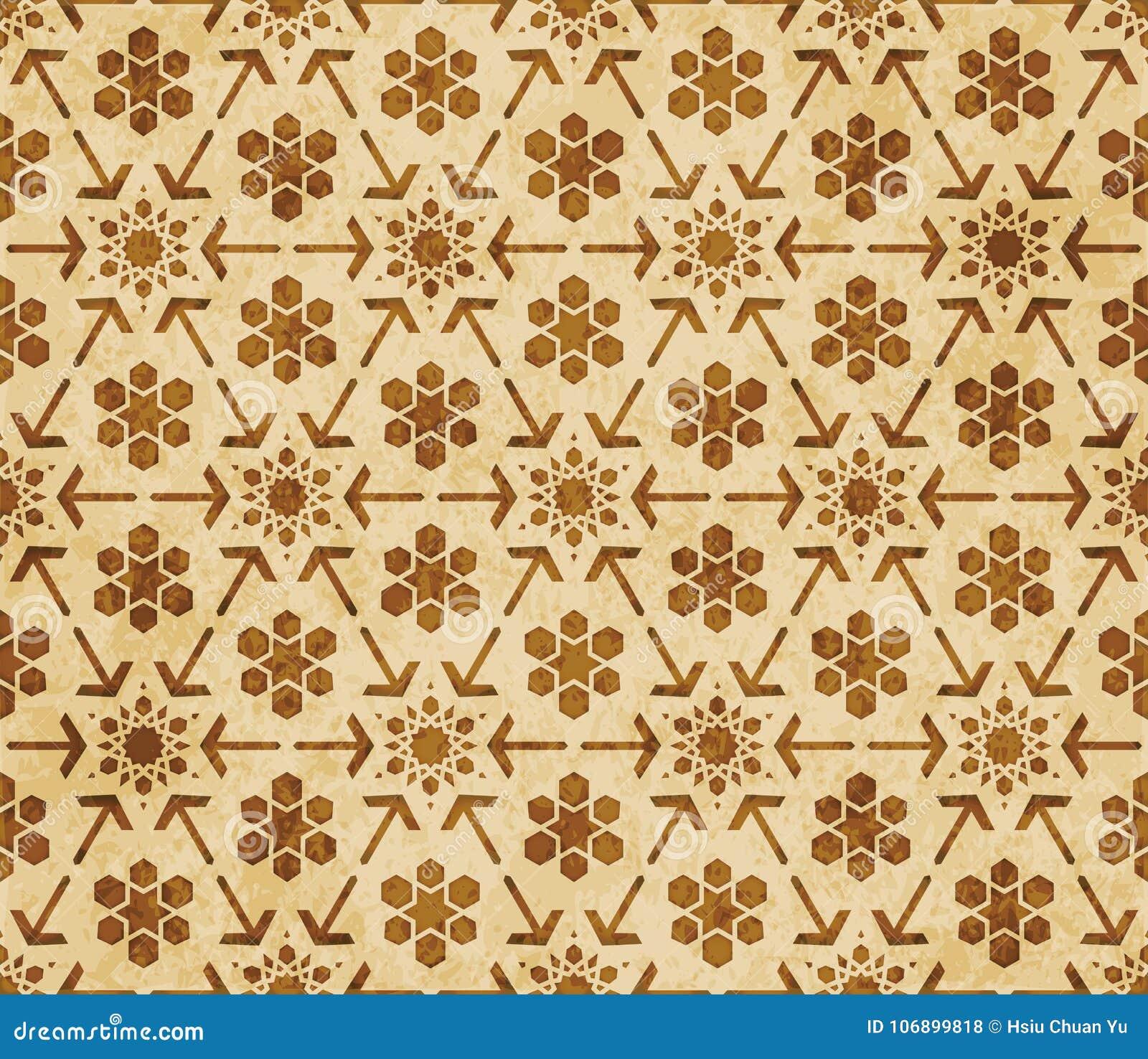 Prydnad för stil för Retro brun för geometrimodell för islam sömlös bakgrund östlig