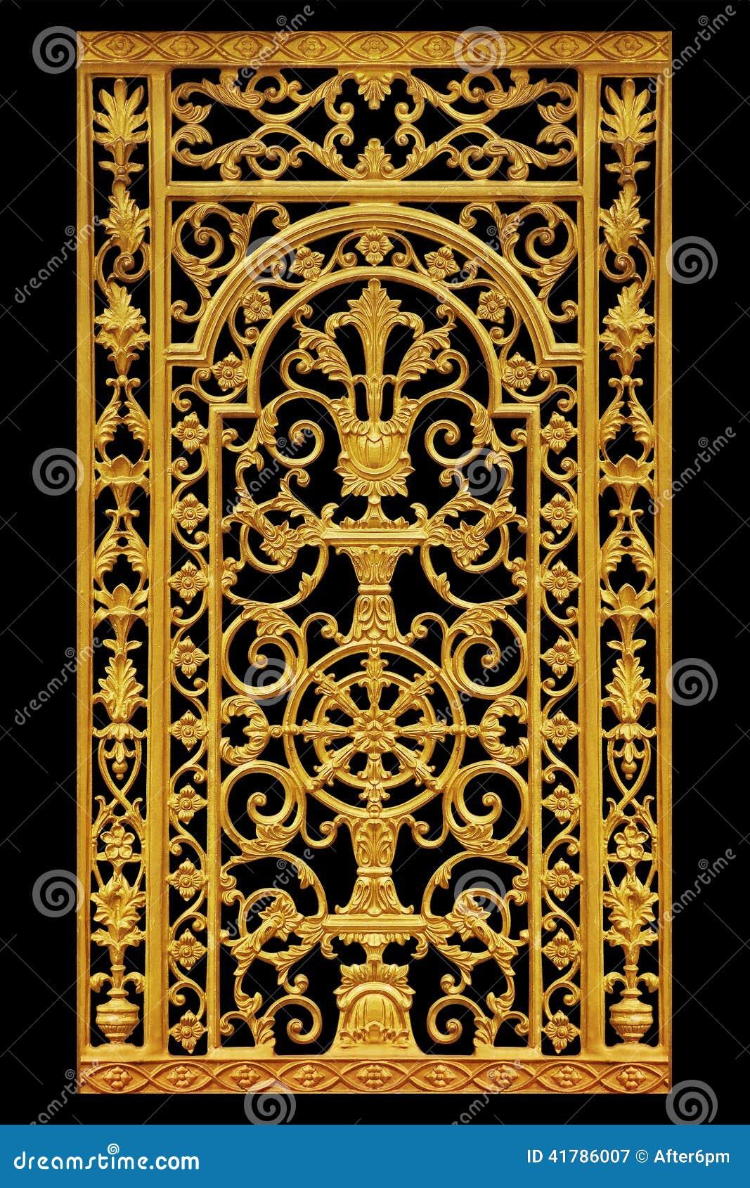 Prydnadbeståndsdelar, guld- blom- designer för tappning