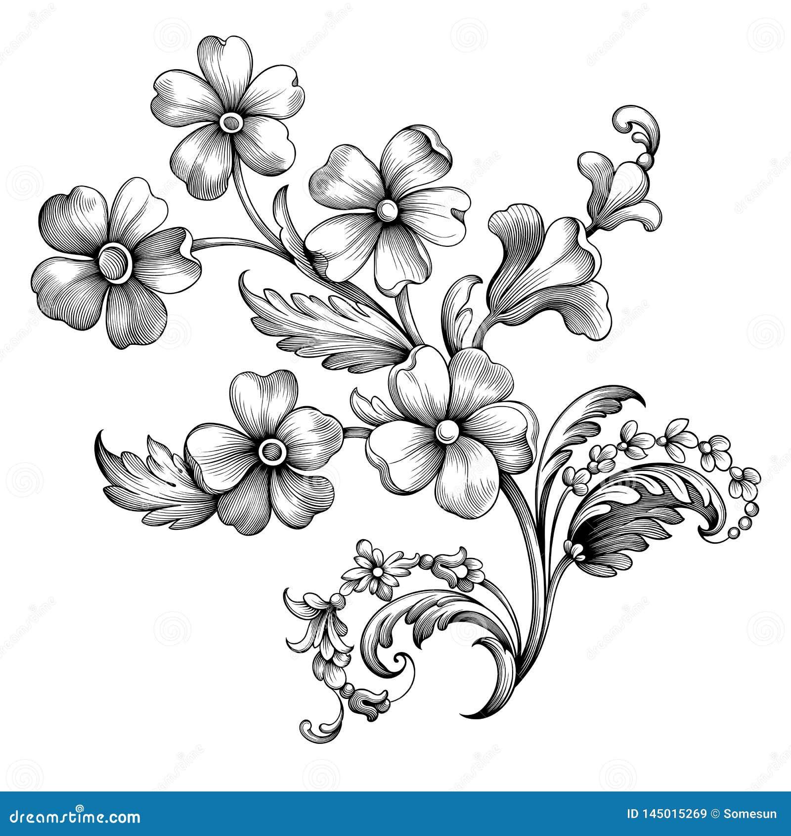 Prydnaden för den barocka för snirkeln för sommar för blomman för blommatappningvåren inristade den blom- viktorianska för