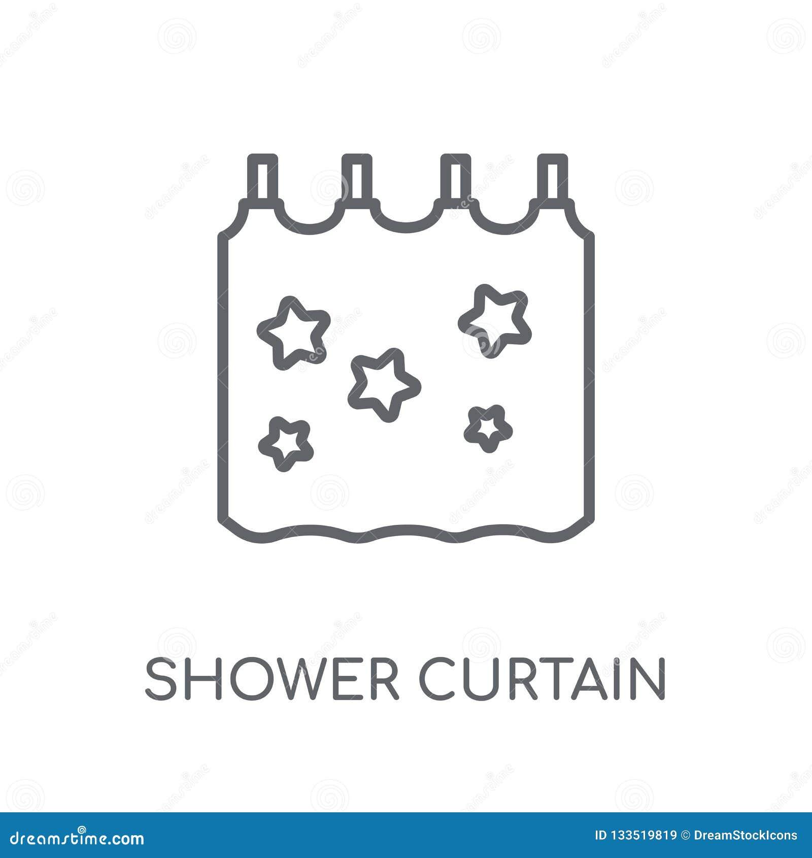 Prysznic zasłony liniowa ikona Nowożytny kontur prysznic zasłony logo c