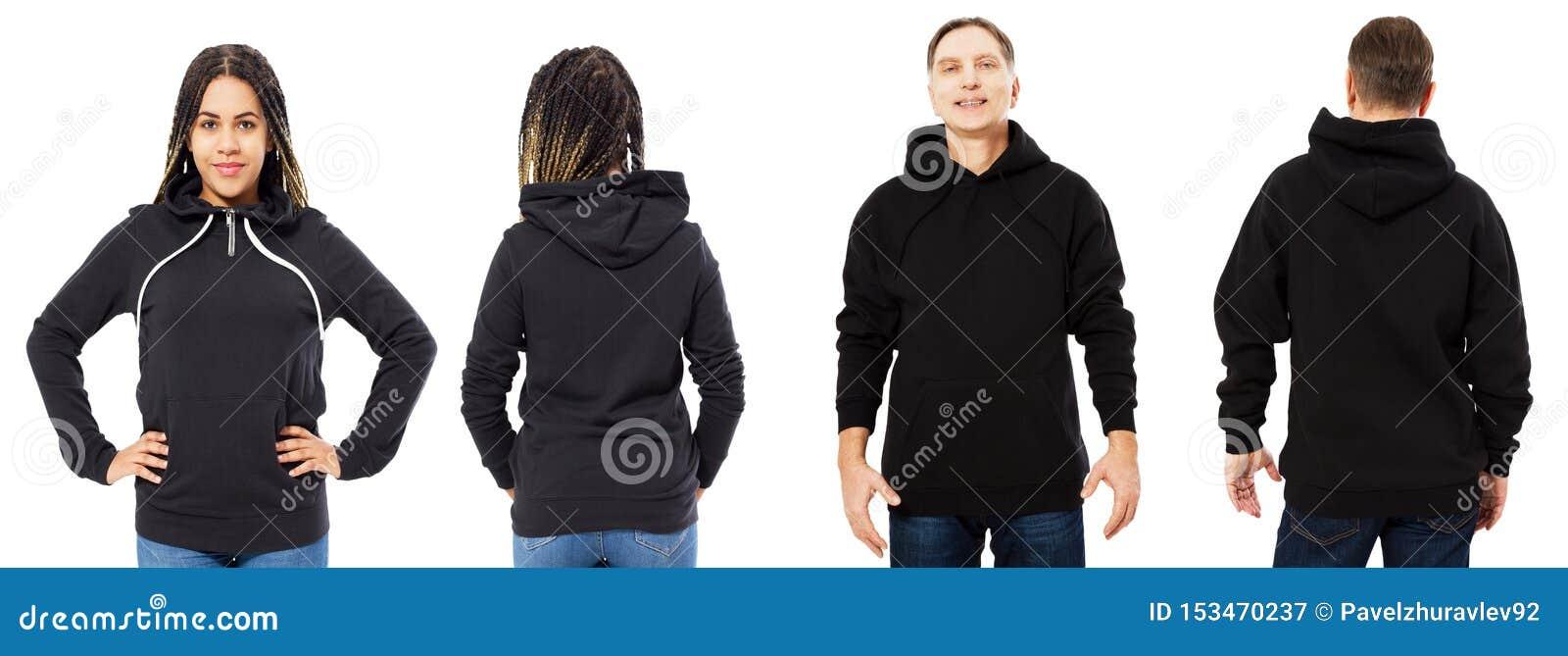 Prz?d, z powrotem tylni czarny bluza sportowa widok i Piękna murzynka i mężczyzna w szablonie odziewamy dla druku i kopii przestr