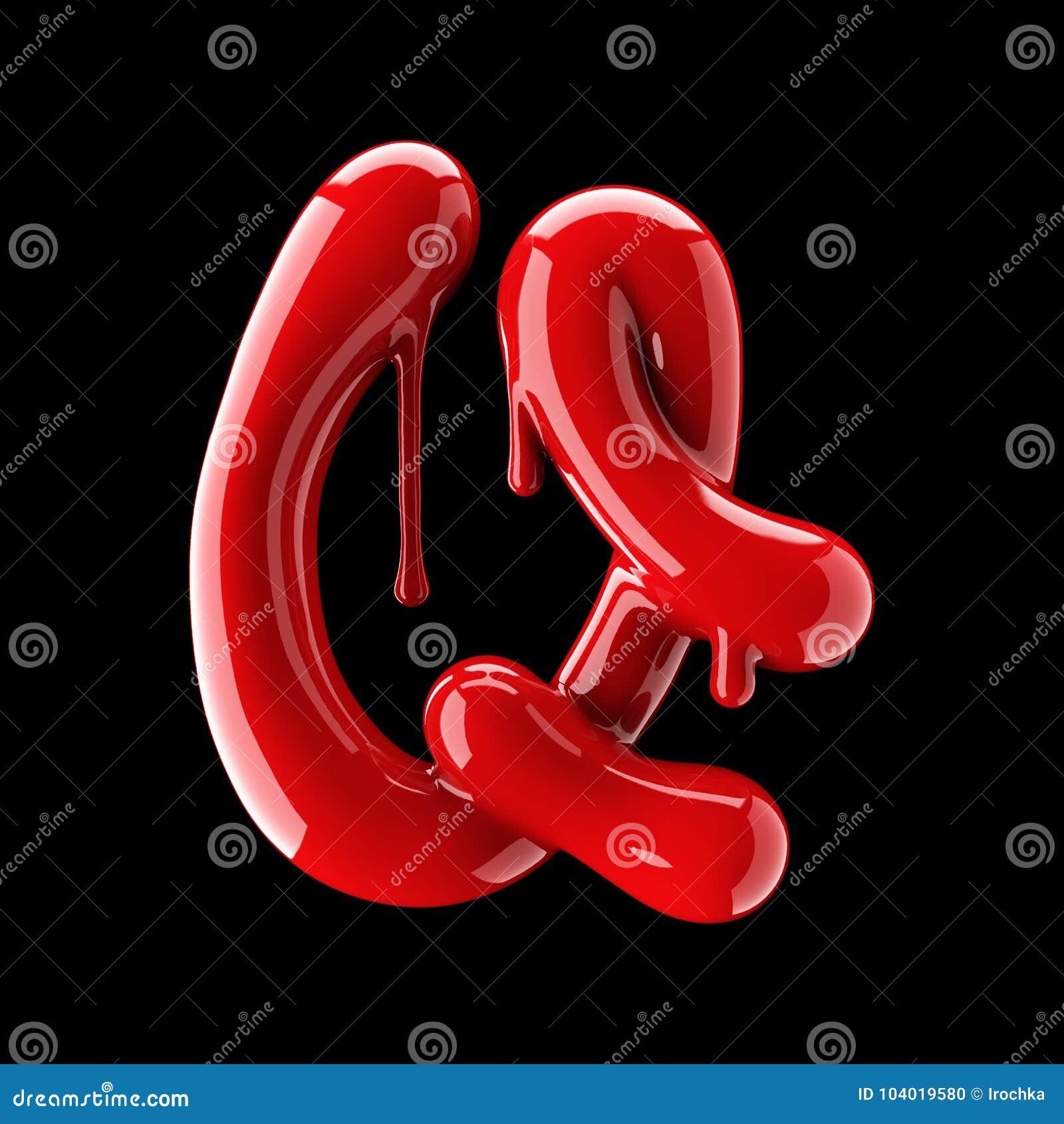 Przeciekający czerwony abecadło na czarnym tle Ręcznie pisany kursywny list Q