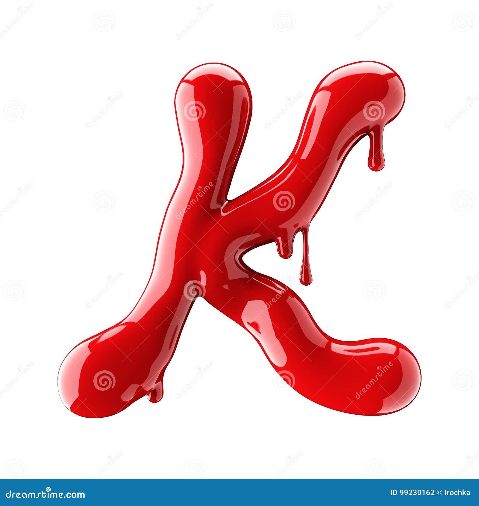 Przeciekający czerwony abecadło odizolowywający na białym tle Ręcznie pisany kursywny list K