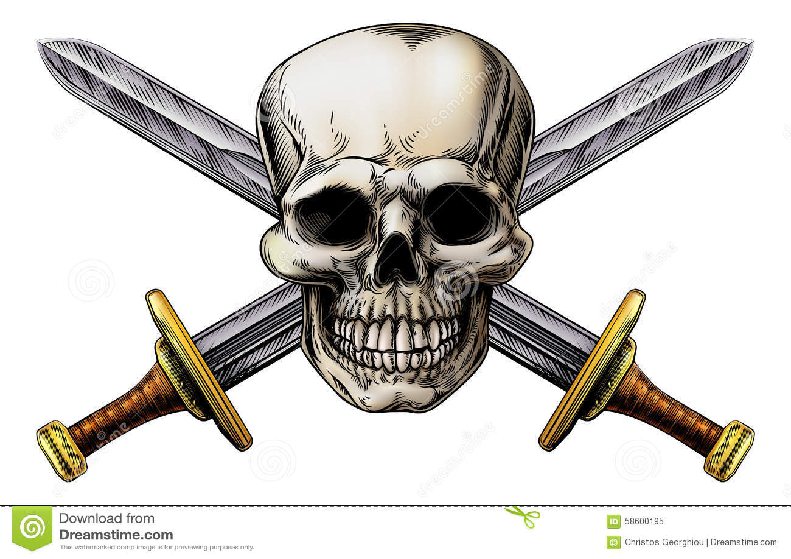 Przecinający kordziki i czaszka