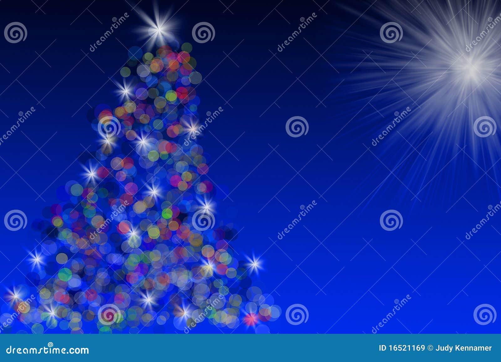 Przeciw błękitny bożych narodzeń ilustracyjnemu nieba drzewu
