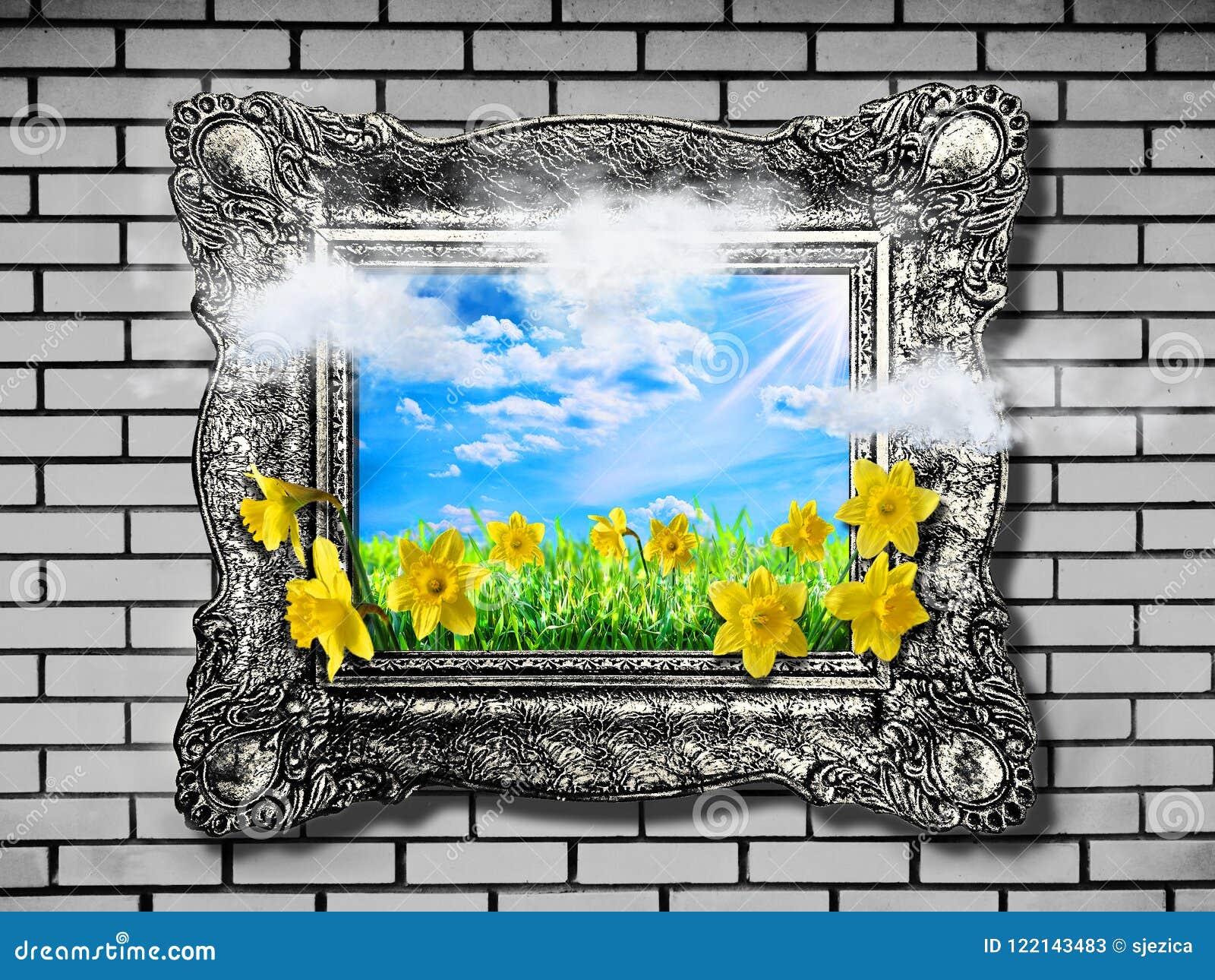 Przeciw tła pojęcia kwiatu wiosna biały żółtym potomstwom Abstrakcjonistyczny naturalny tło z trawą i narcyz w ramie