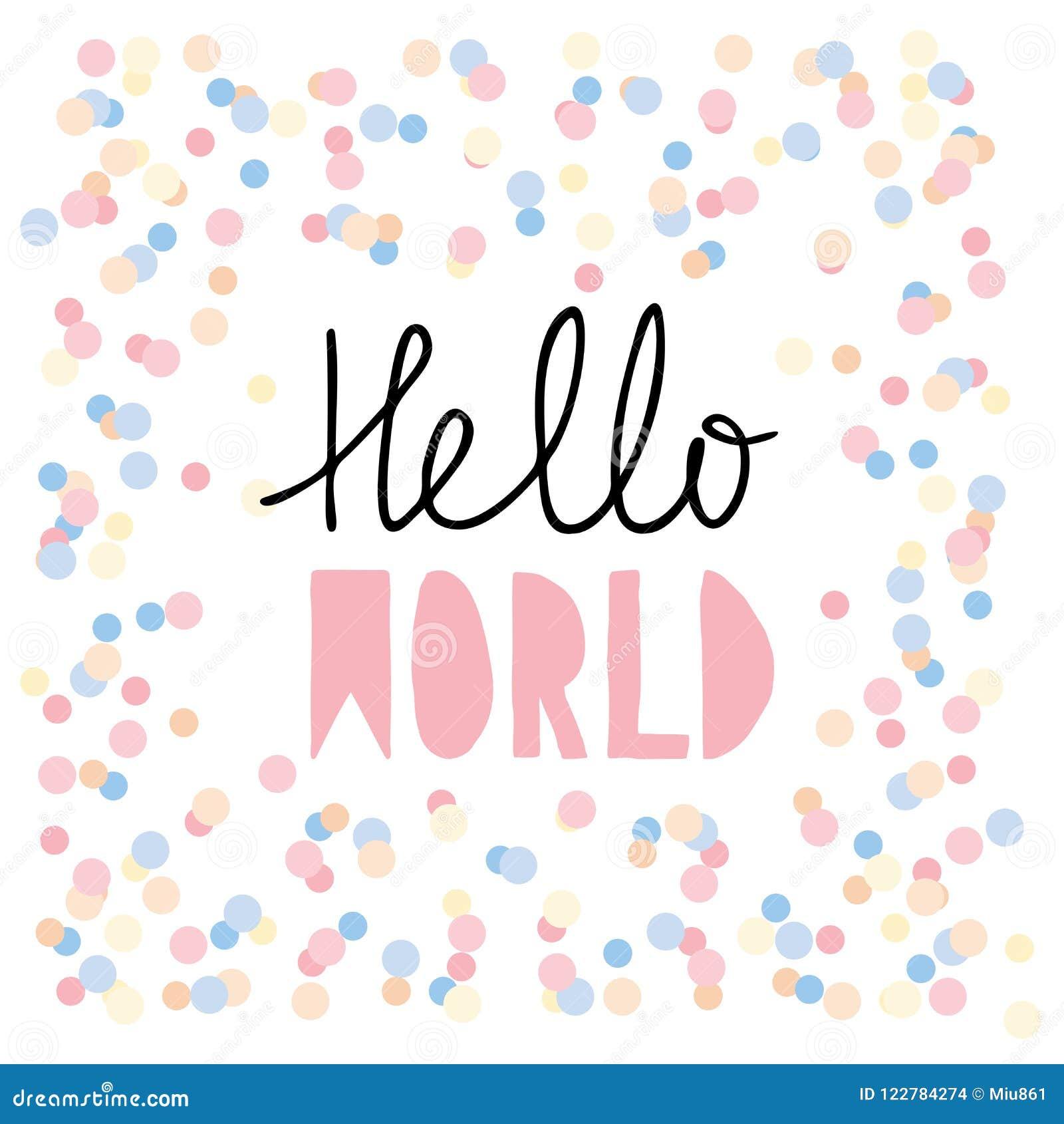 Przeciw tłu piękny cześć odizolowywał biała kobieta trwanie świat Różowa dziecko prysznic Wektorowa grafika Śliczna ręka Pisać li