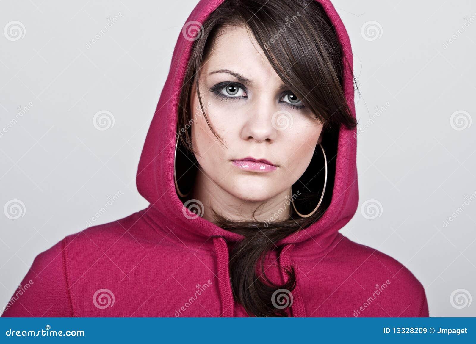 Przeciw tła kobiety grey hoodie