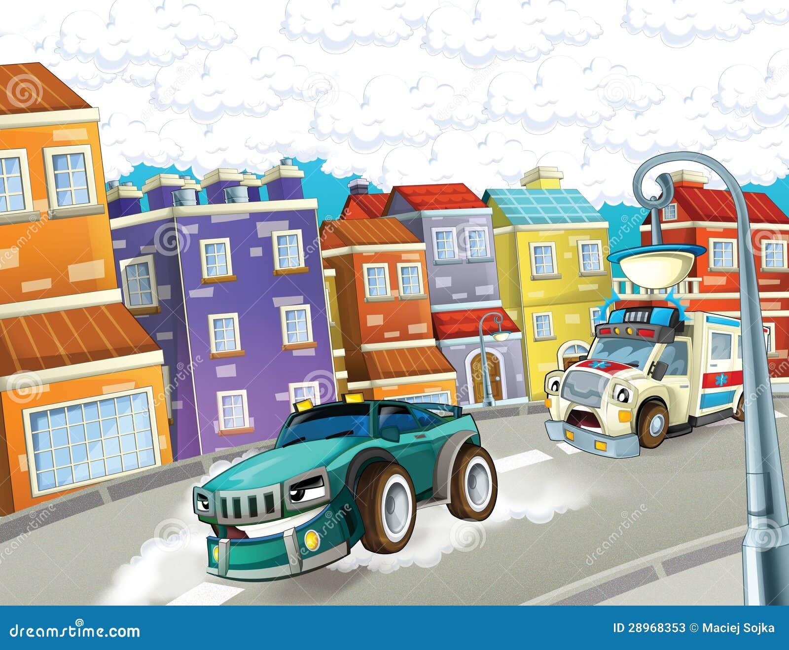 Przeciwawaryjna jednostka karetka i pędzący samochód -